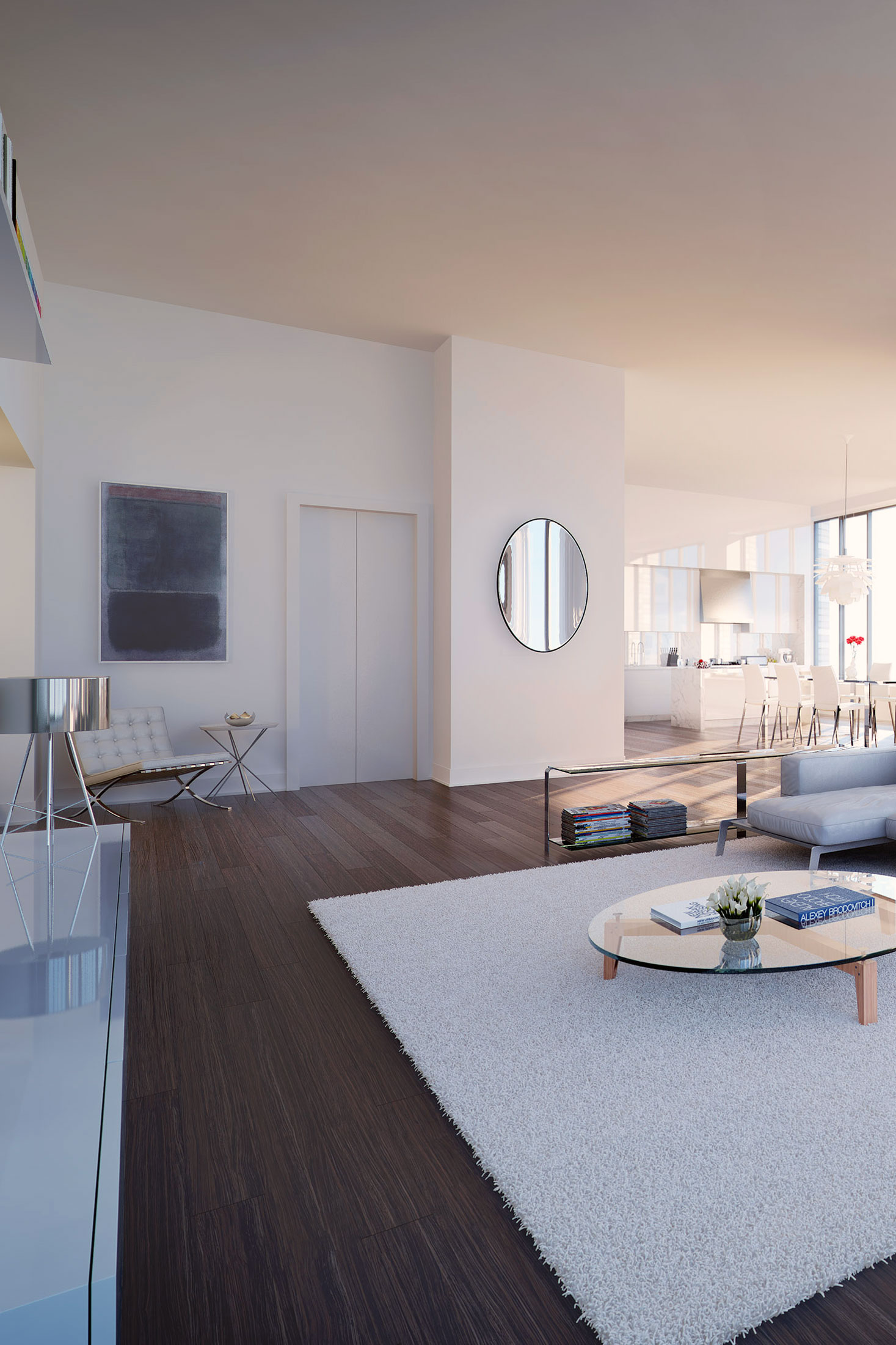 Architectural Rendering of the living room of the 5 Franklin Place project located in Tribeca, New York City