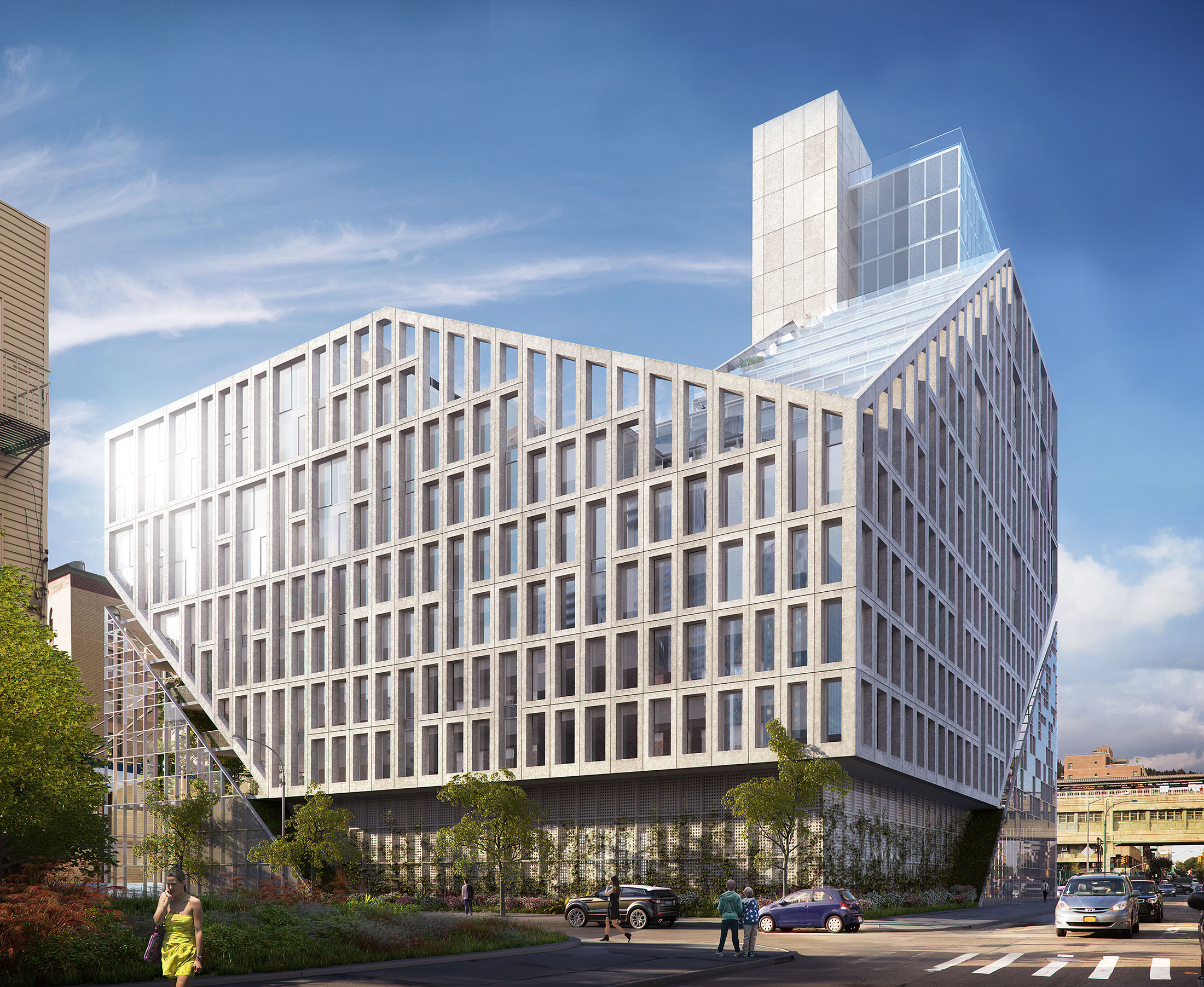 Architectural Rendering of the exterior of the Bevel Long Island City project located in Queens, New York