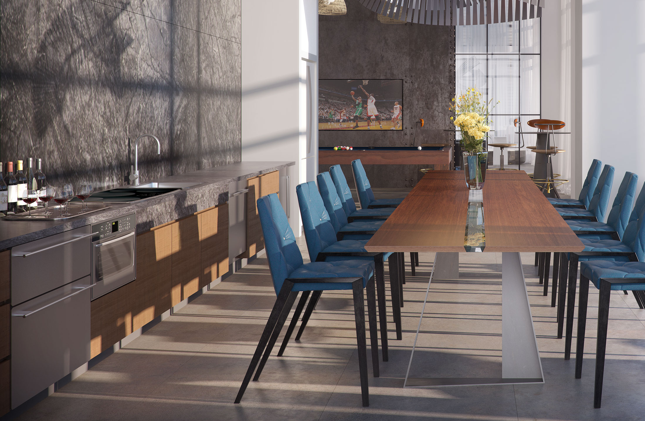 Architectural Rendering of the dining room of the Watermark Seaport project located in Boston, Massachusetts