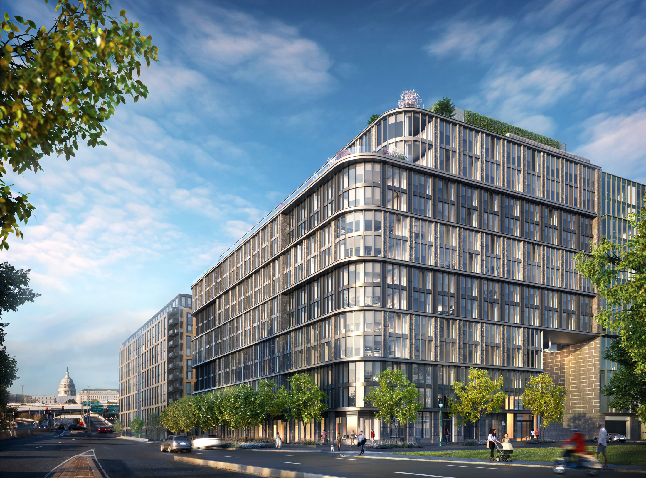 Architectural Rendering of the exterior of the 10K Hill South project located in Capitol Riverfront, Washington DC