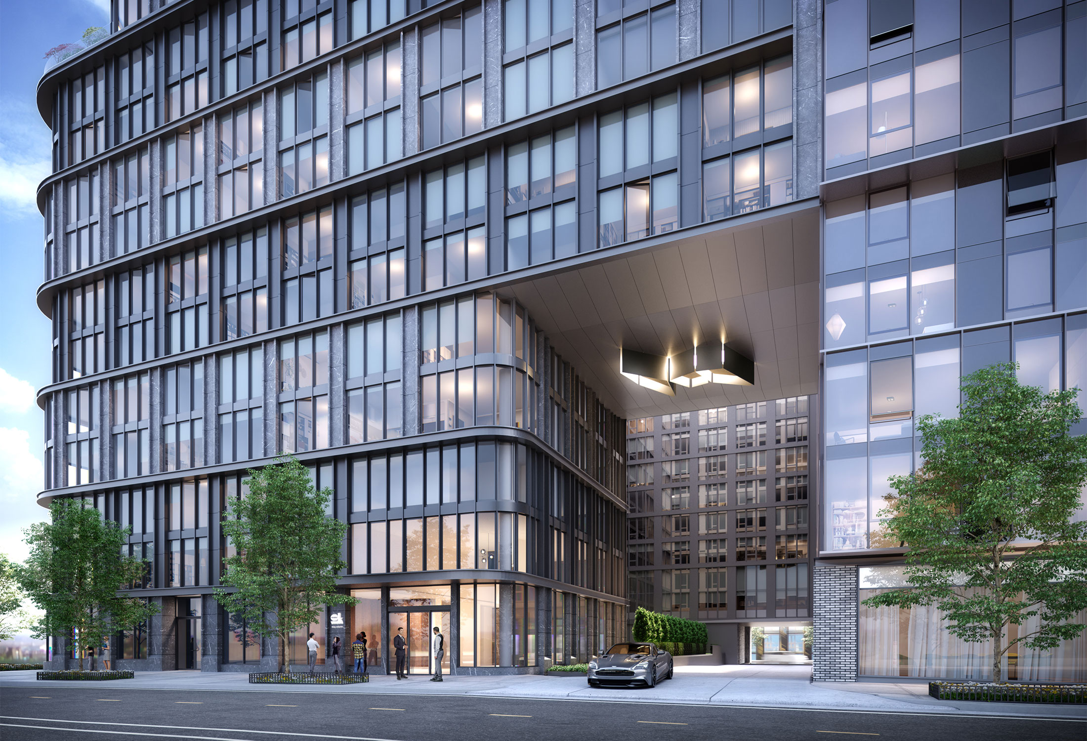 Architectural Rendering of the entrance of the 10K Hill South project located in Capitol Riverfront, Washington DC