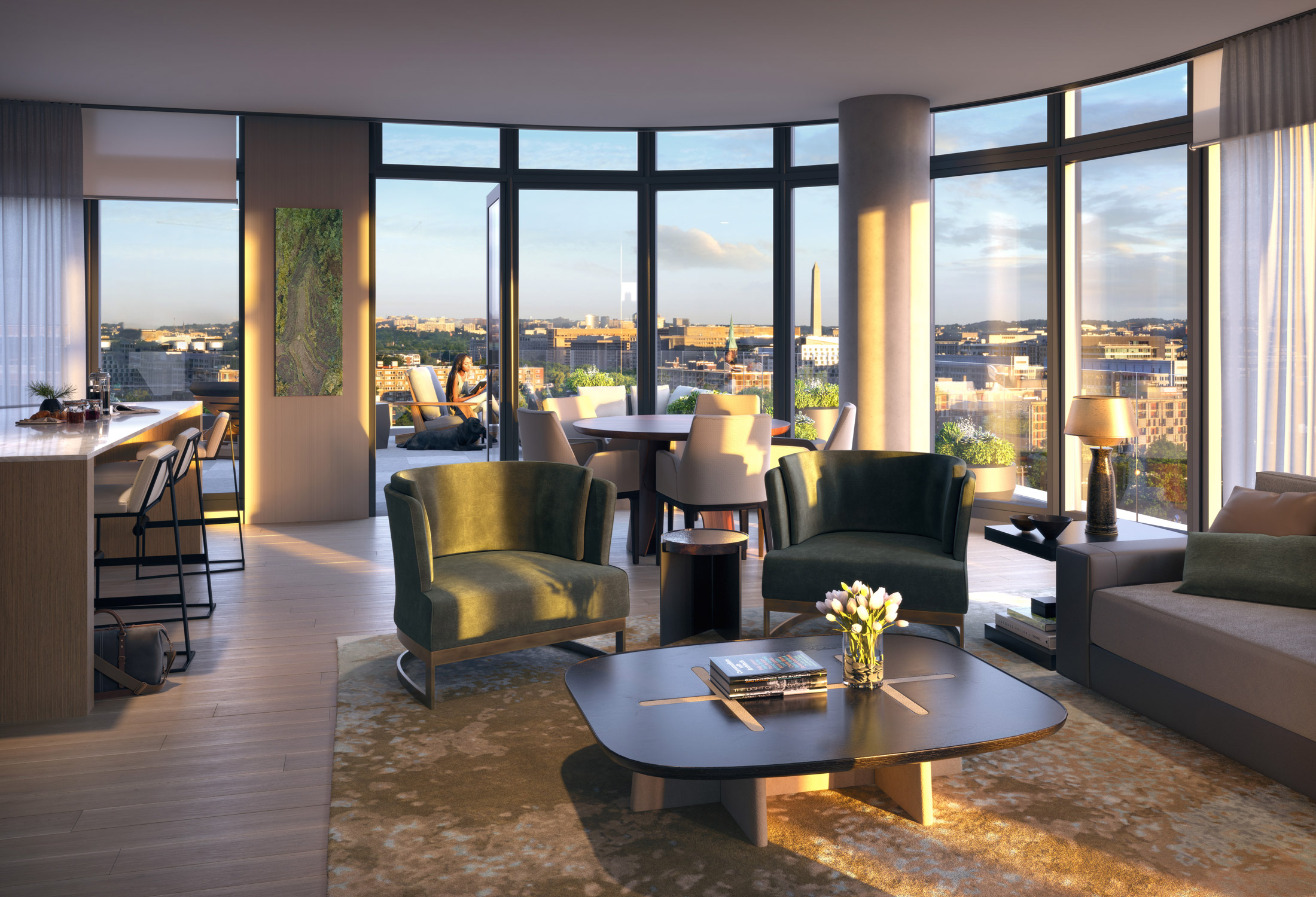 Architectural Rendering of the living room of the 10K Hill South project located in Capitol Riverfront, Washington DC