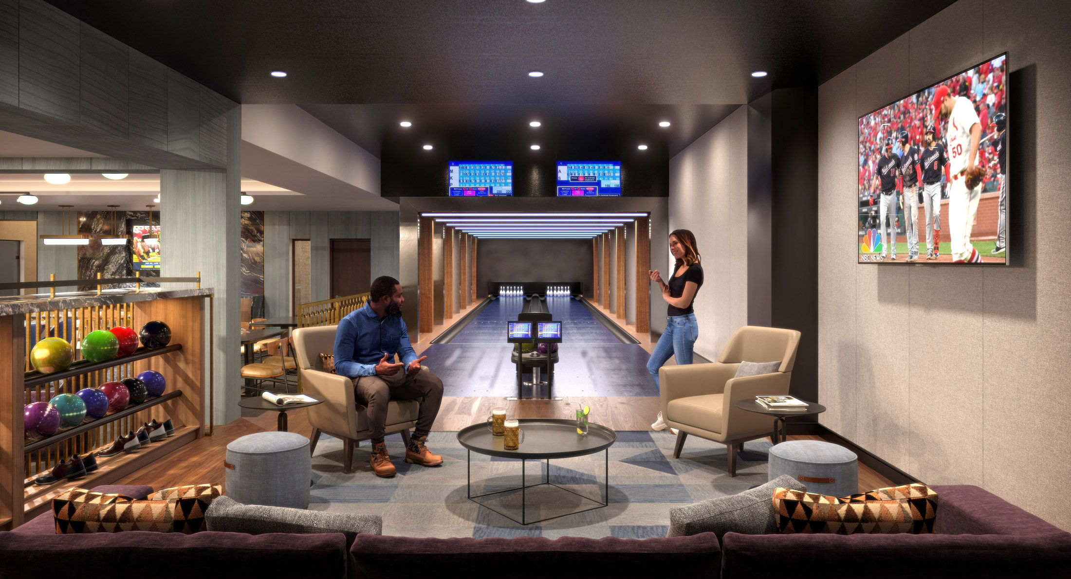 Architectural Rendering of the bar lounge of the 10K Hill South project located in Capitol Riverfront, Washington DC