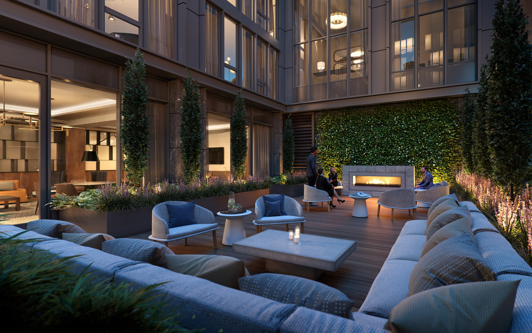Architectural Rendering of the courtyard of the 10K Hill South project located in Capitol Riverfront, Washington DC