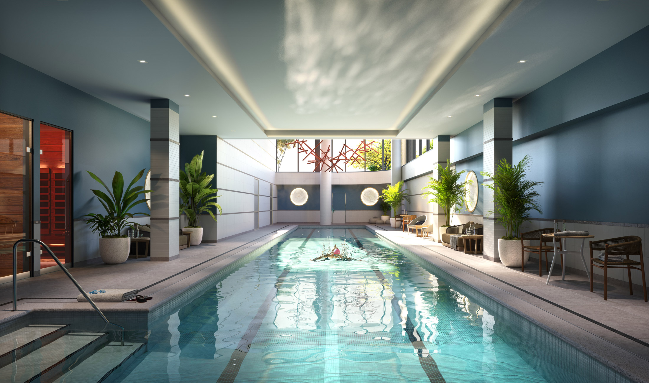 Architectural Rendering of the interior pool of the 10K Hill South project located in Capitol Riverfront, Washington DC