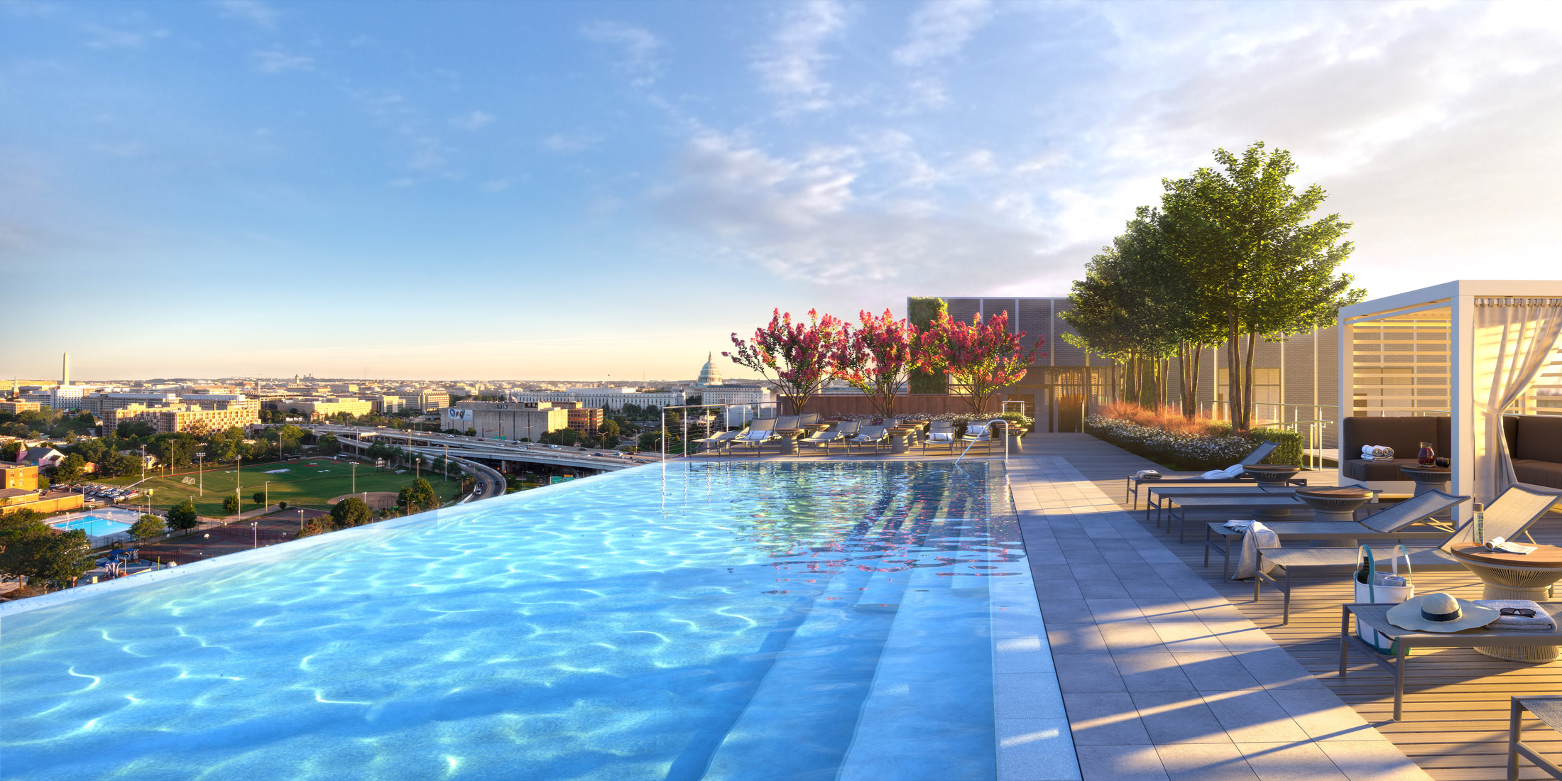 Architectural Rendering of the exterior pool of the 10K Hill South project located in Capitol Riverfront, Washington DC
