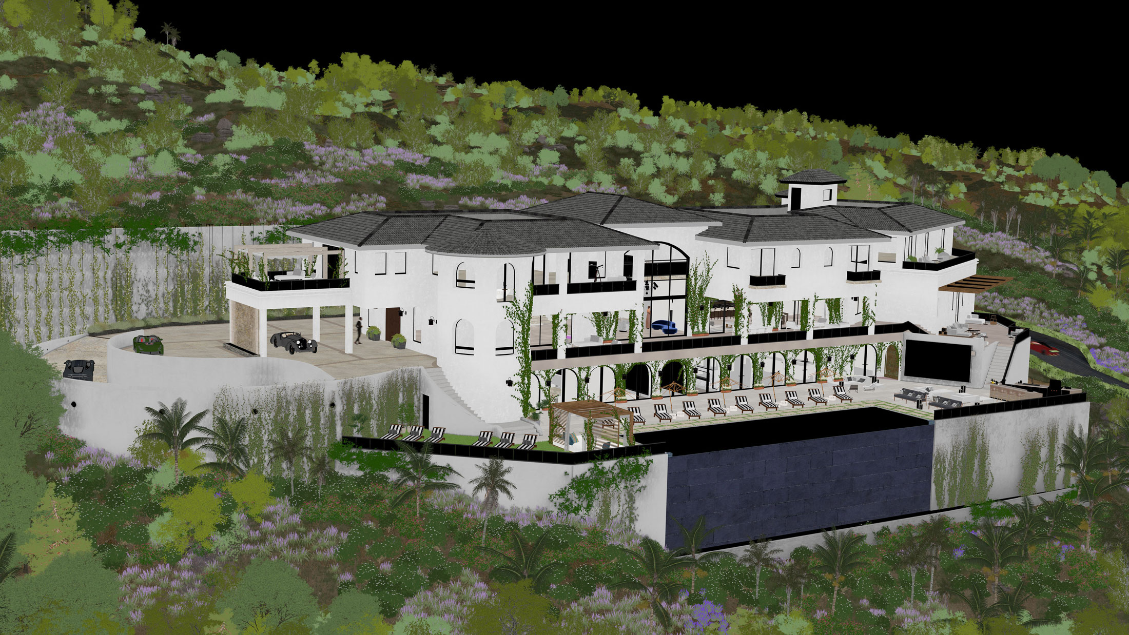 Architectural Rendering process of an aerial view of the 10697 Somma Way project located in Los Angeles, California