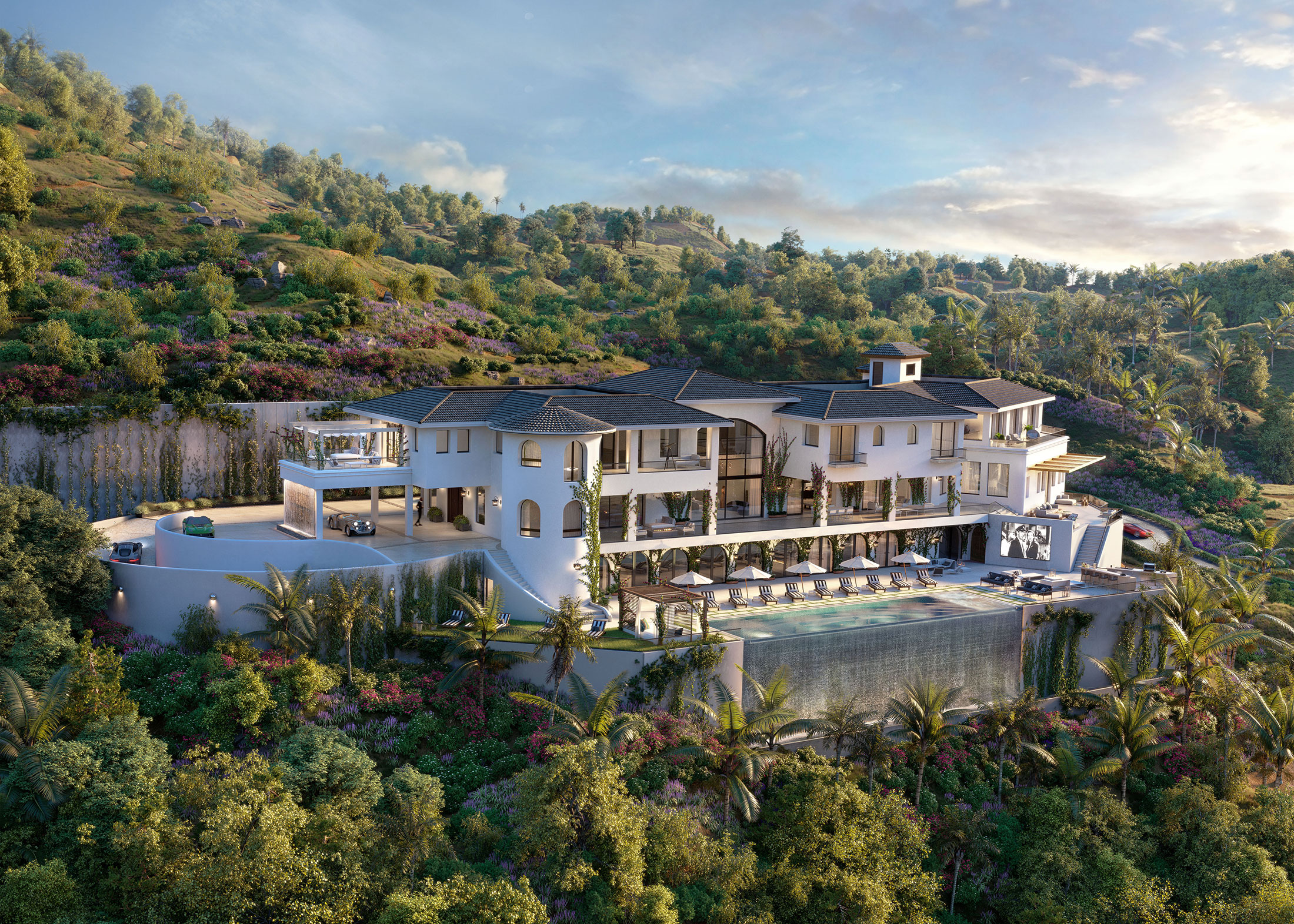 Architectural Rendering of an aerial view of the 10697 Somma Way project located in Los Angeles, California