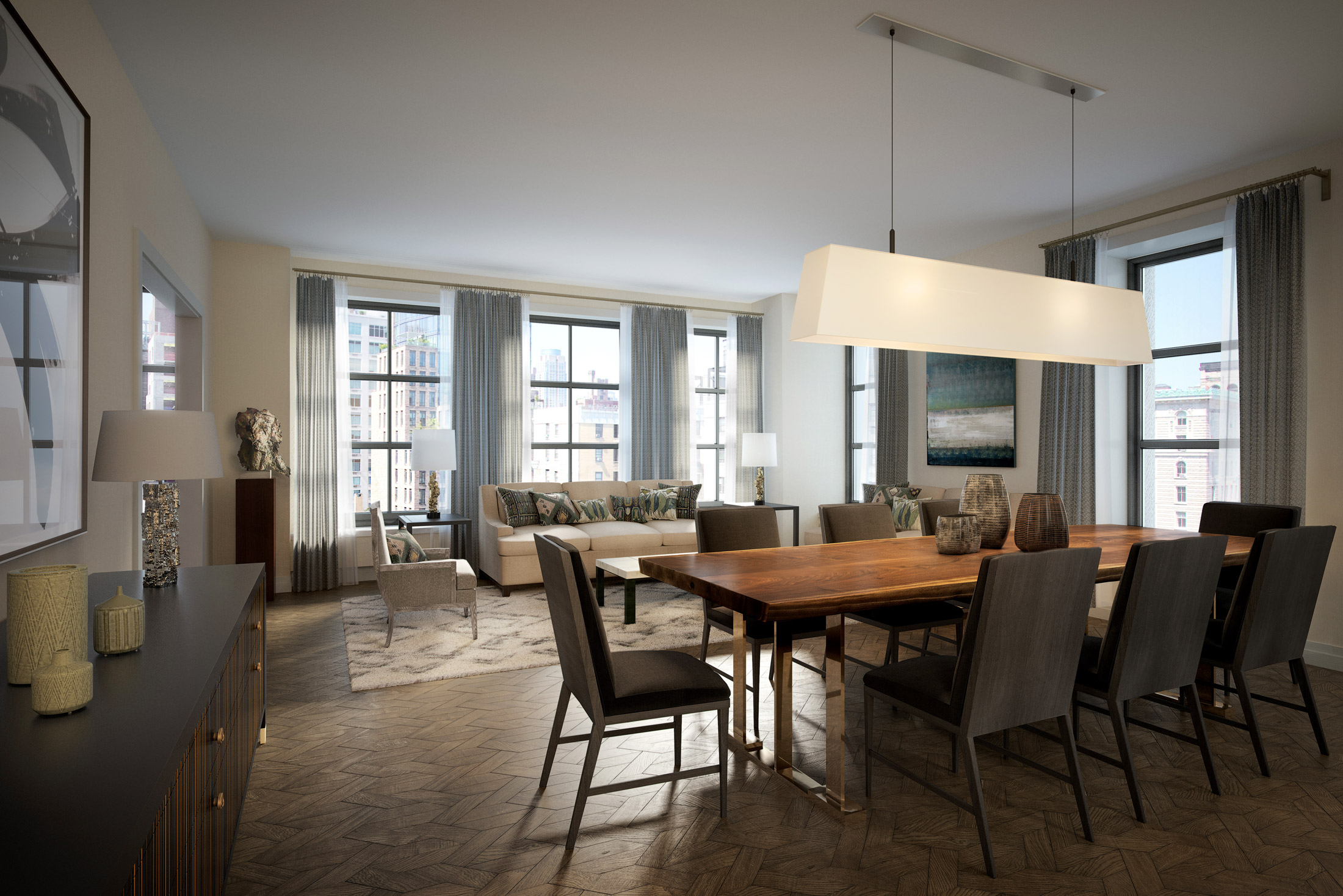 Architectural Rendering of the living room of the 207 West 79th Street project located on the Upper West Side, New York City