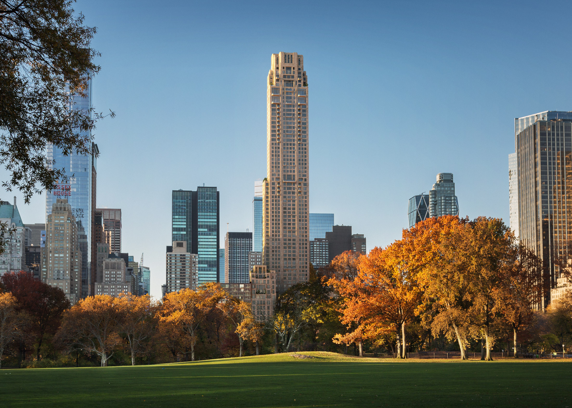 Architectural Rendering of the view from the park of the 220 Central Park South project located in Midtown, New York City