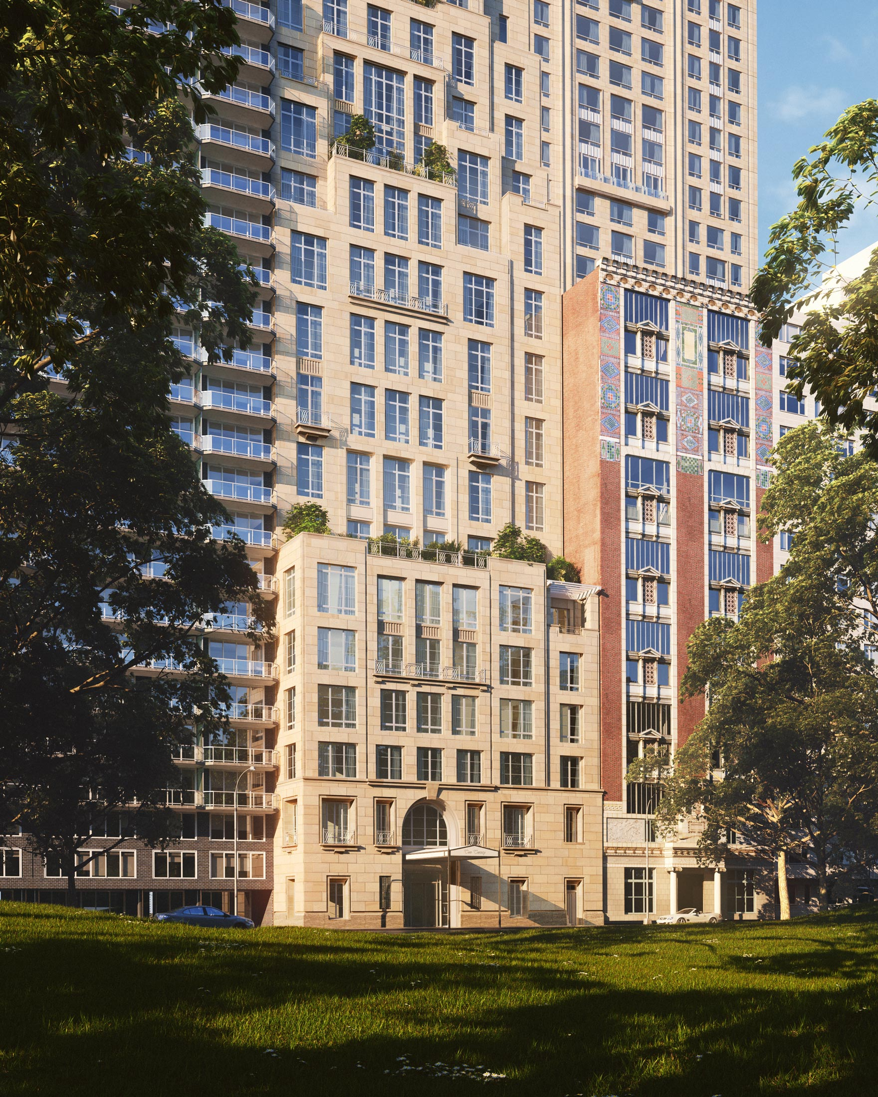 Architectural Rendering of the entrance of the 220 Central Park South project located in Midtown, New York City
