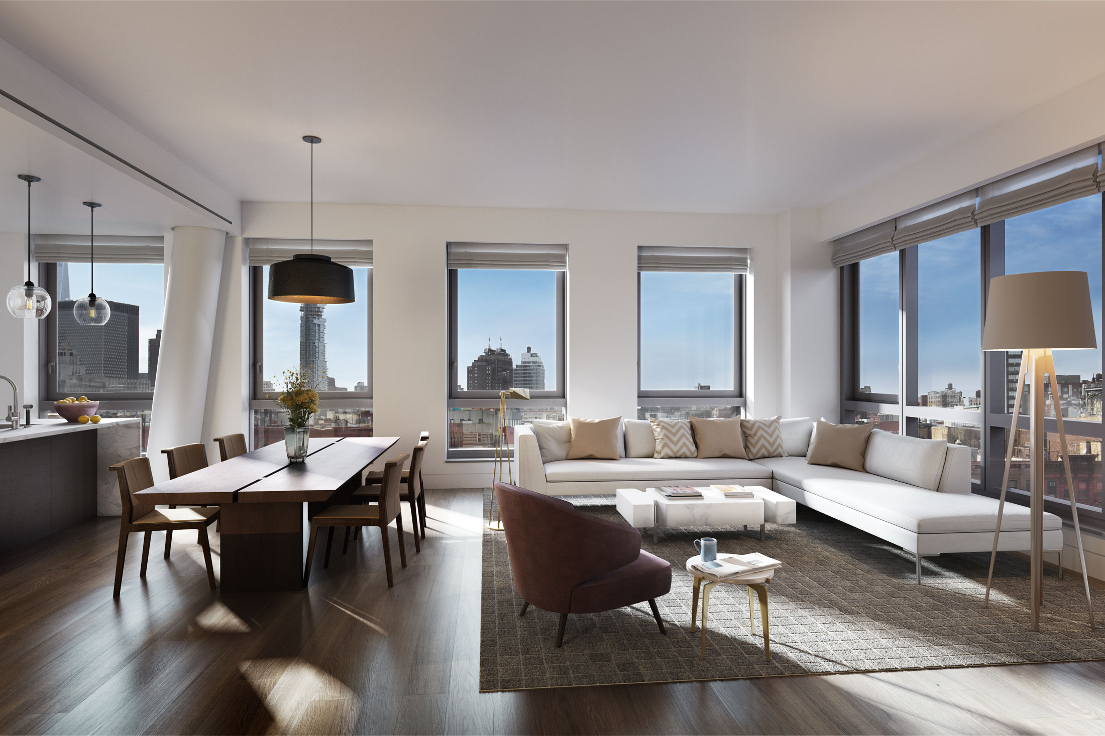 Architectural Rendering of the living room of the 242 Broome Street project located on the Lower East Side, New York City