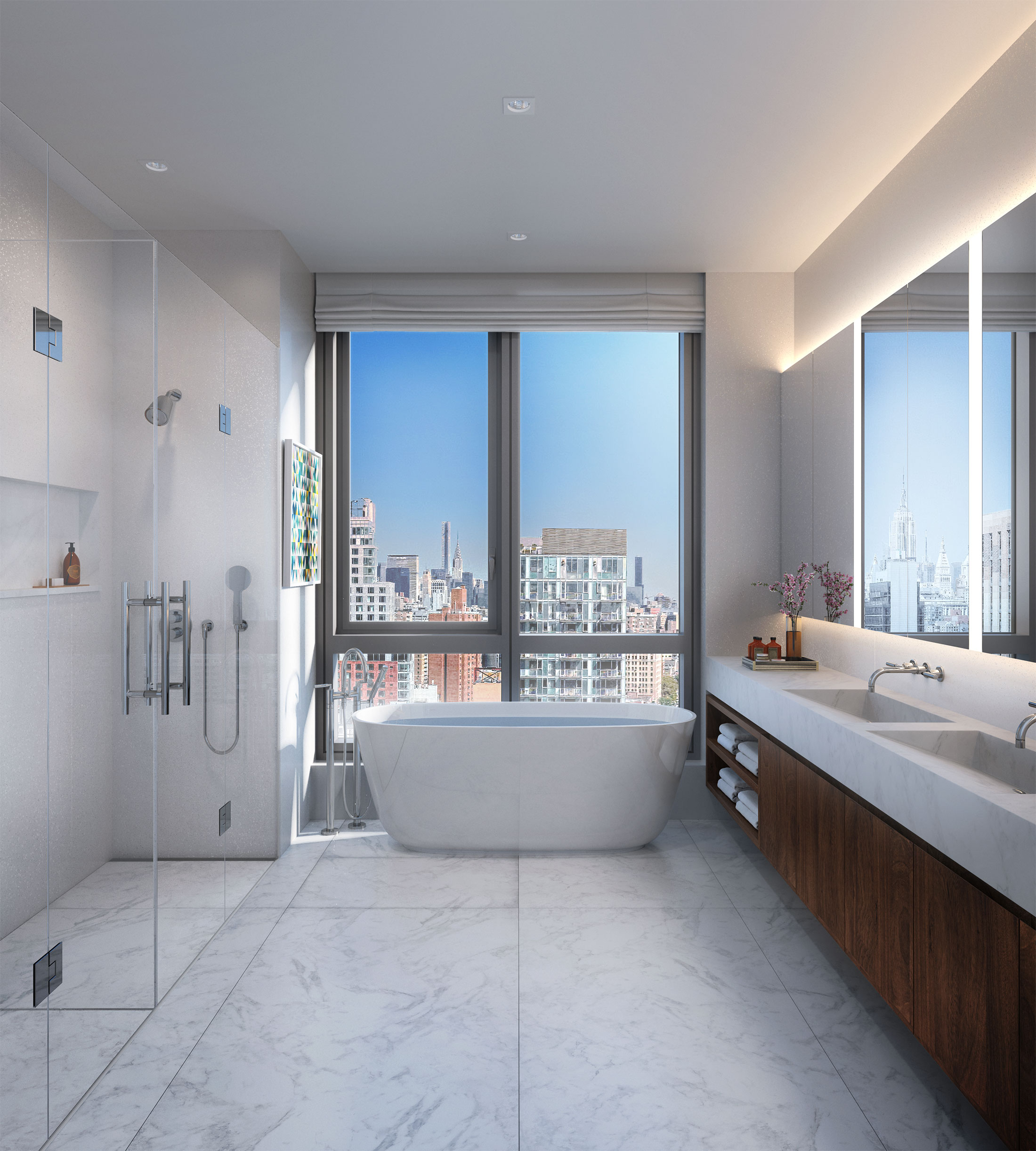 Architectural Rendering of the bathroom of the 242 Broome Street project located on the Lower East Side, New York City