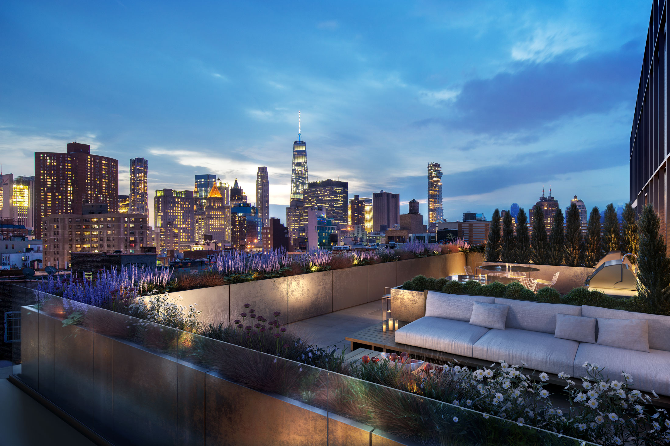 Architectural Rendering of the rooftop of the 242 Broome Street project located on the Lower East Side, New York City