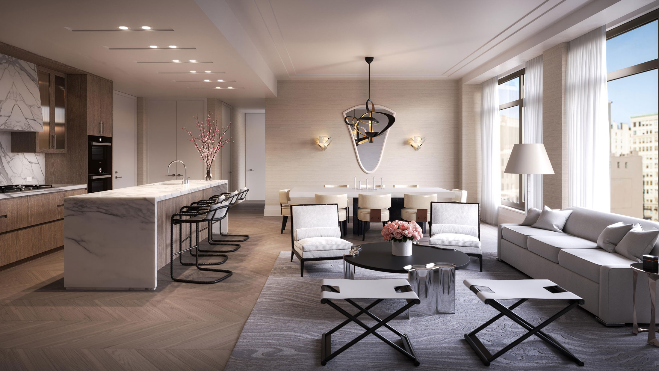 Architectural Rendering of the living room of the 40 Bleecker project located in Noho, New York City