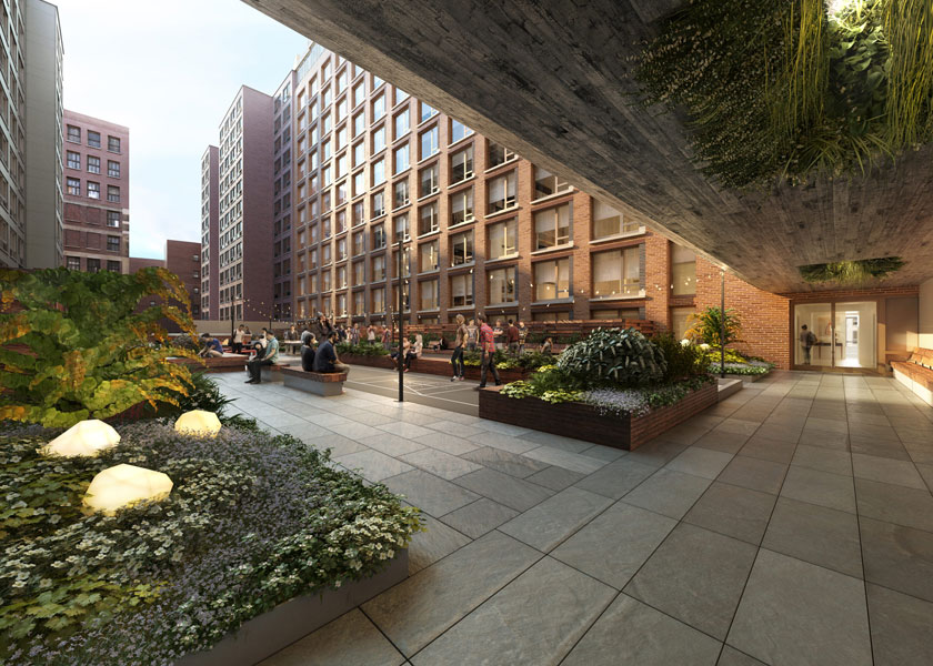 Architectural Rendering of the terrace of the 525 West 52nd Street project located in Hell's Kitchen, New York City