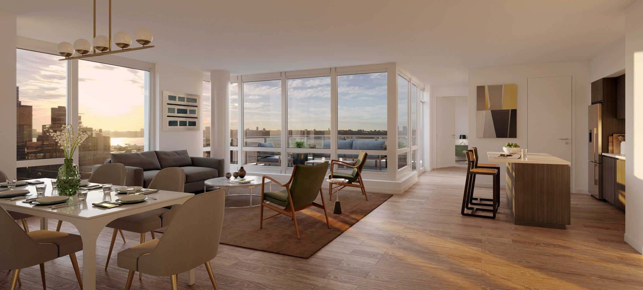 Architectural Rendering of the living room of the 525 West 52nd Street project located in Hell's Kitchen, New York City