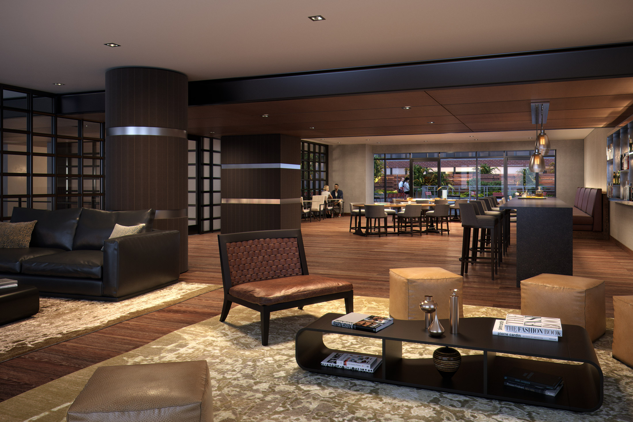 Architectural Rendering of the lounge party of the 525 West 52nd Street project located in Hell's Kitchen, New York City