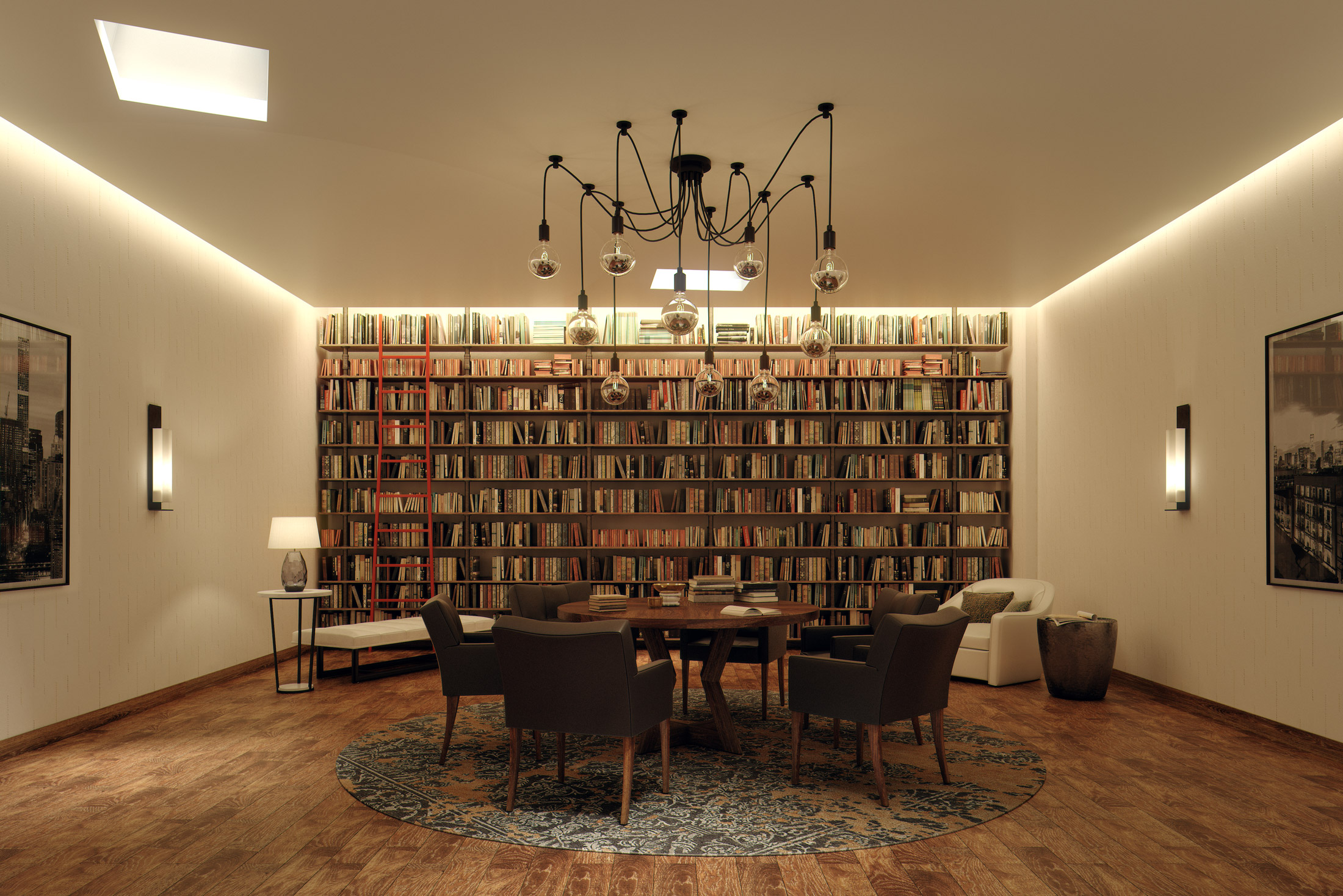 Architectural Rendering of the library of the 525 West 52nd Street project located in Hell's Kitchen, New York City