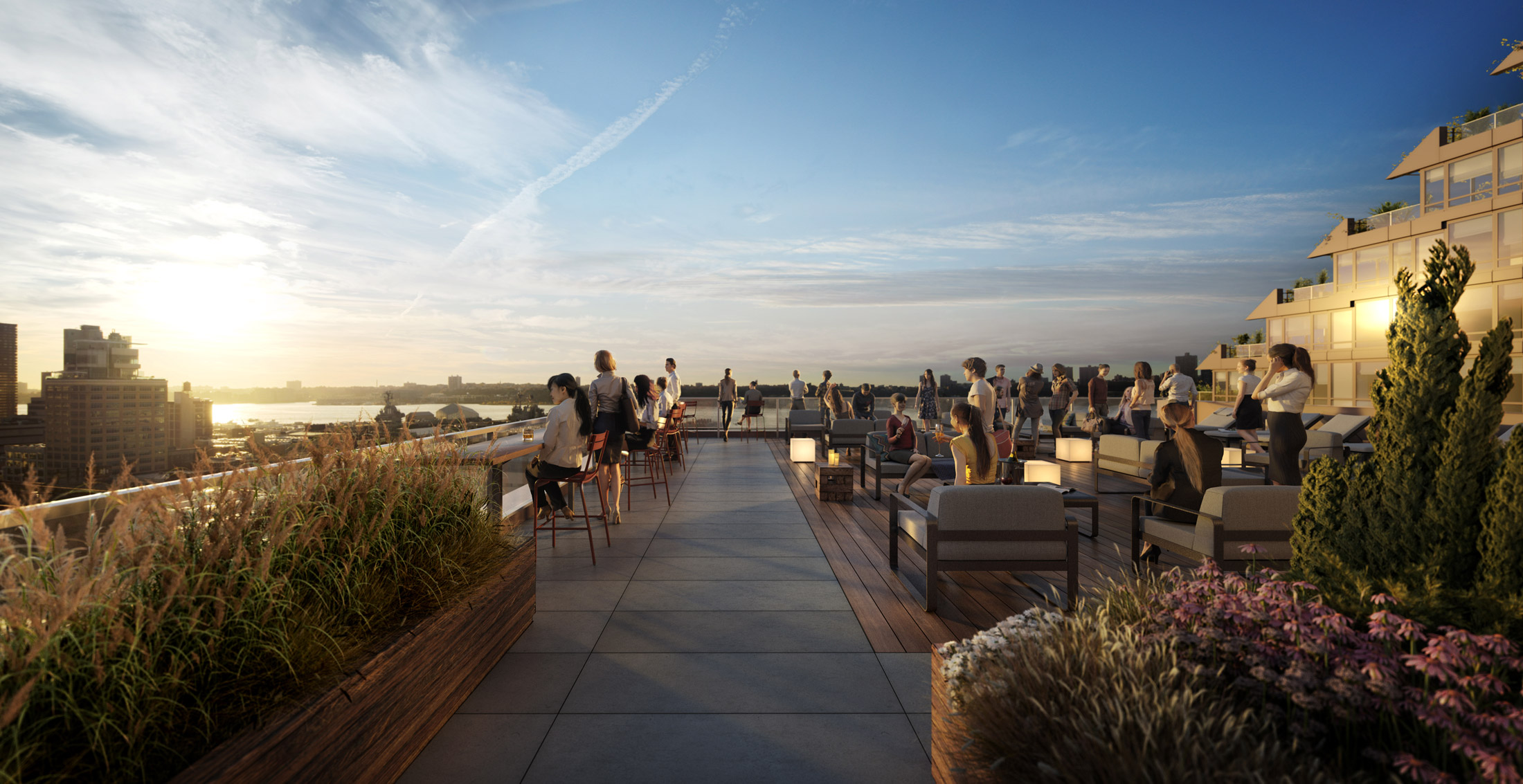 Architectural Rendering of the rooftop of the 525 West 52nd Street project located in Hell's Kitchen, New York City
