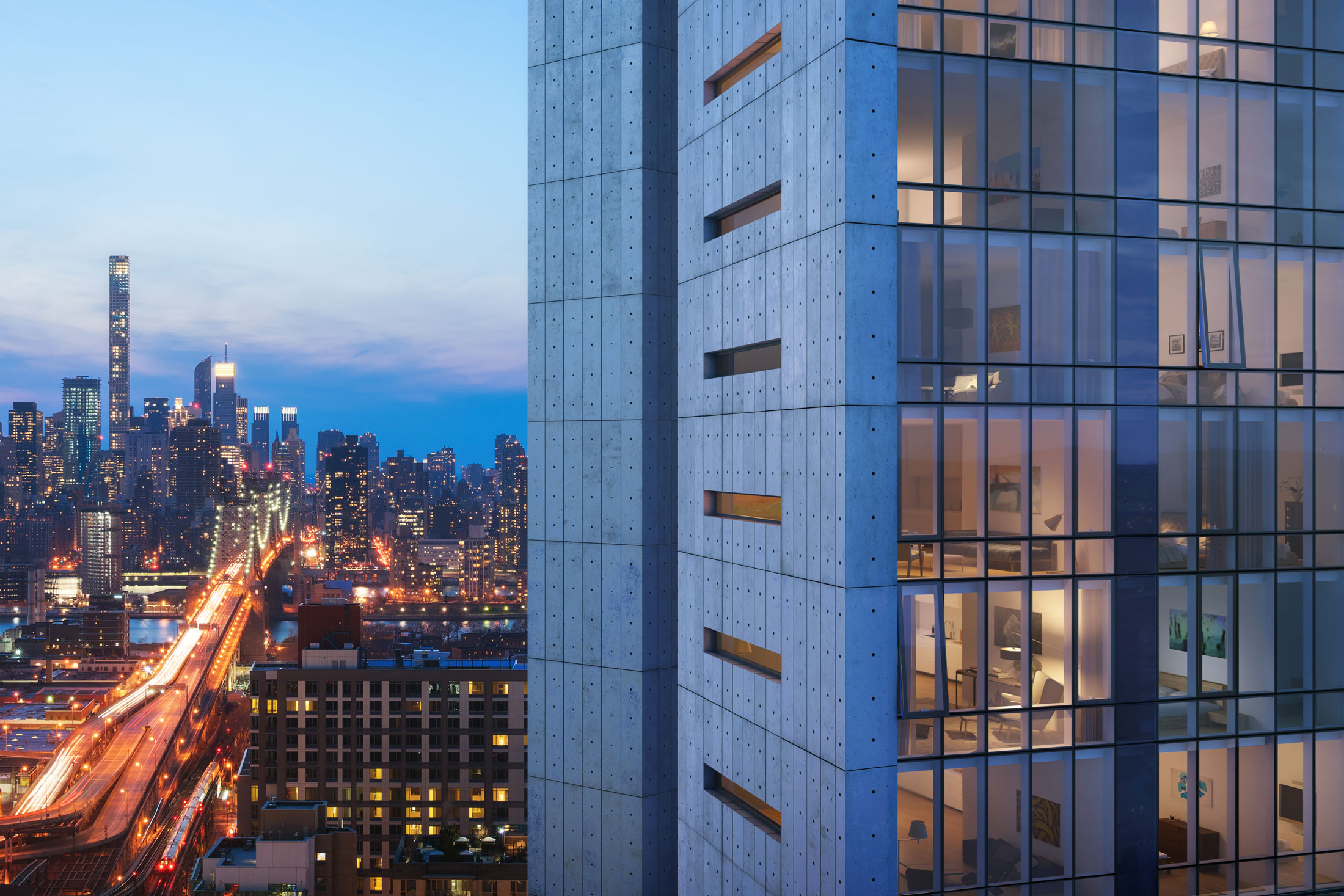 Architectural Rendering of the exterior of the Aurora 29-11 Queens Plaza North project located in Queens, New York