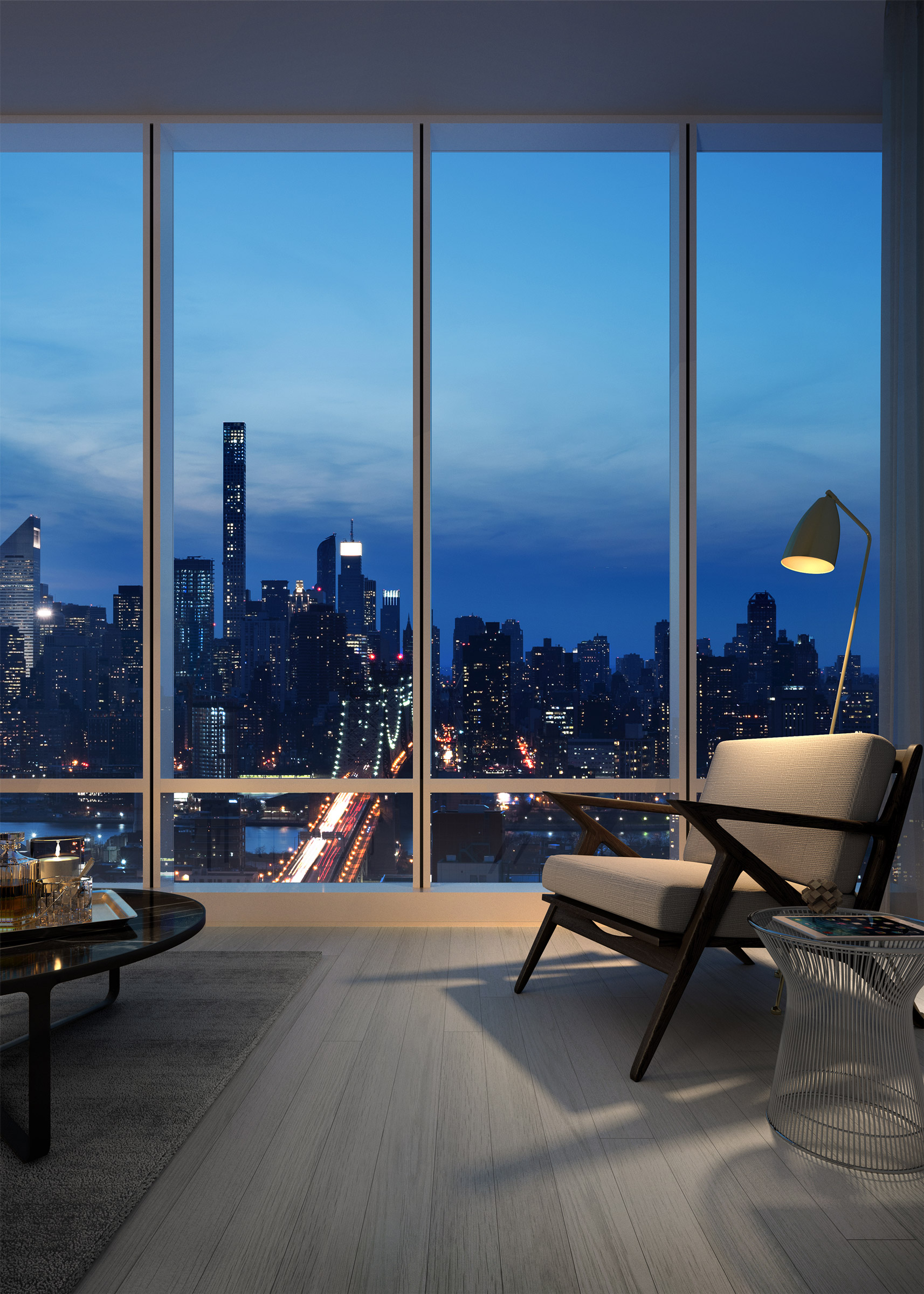 Architectural Rendering of the living room of the Aurora 29-11 Queens Plaza North project located in Queens, New York