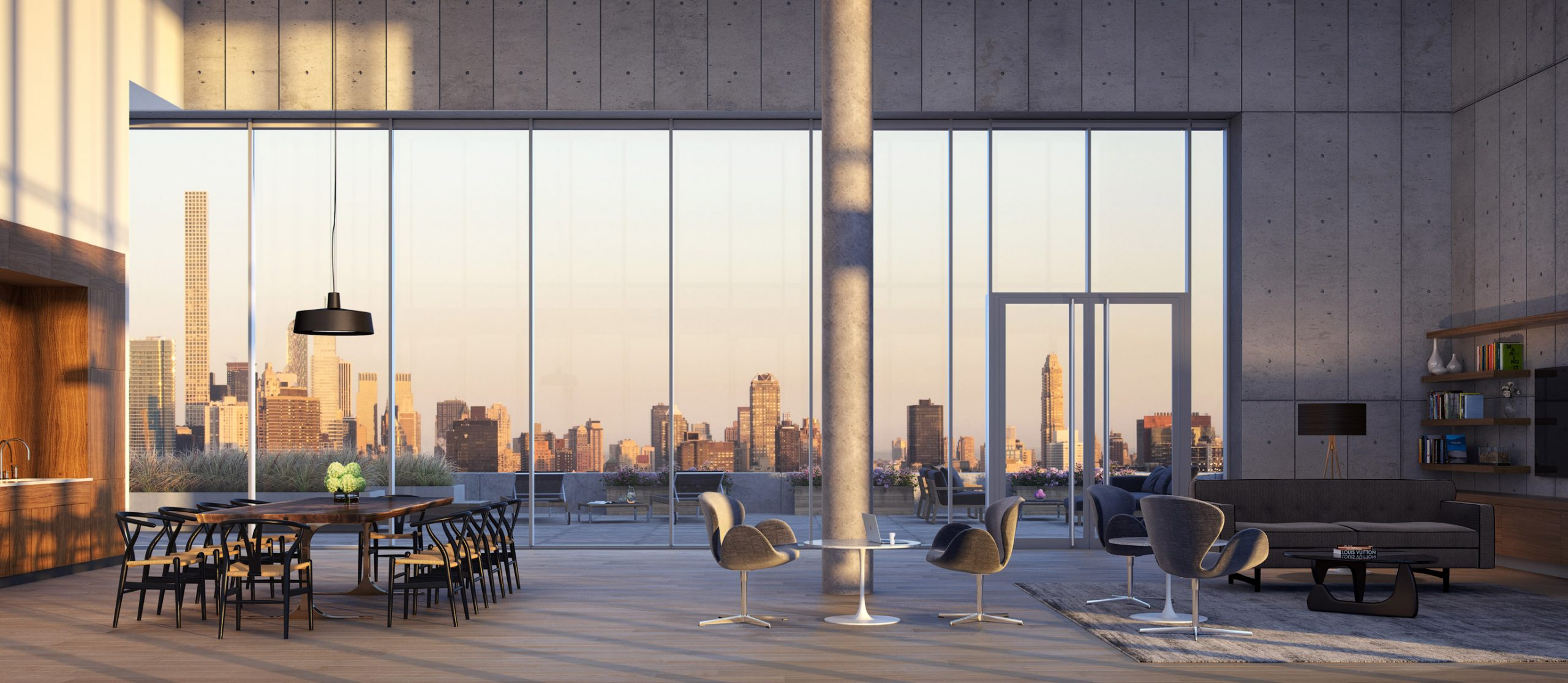 Architectural Rendering of the amenities room of the Aurora 29-11 Queens Plaza North project located in Queens, New York