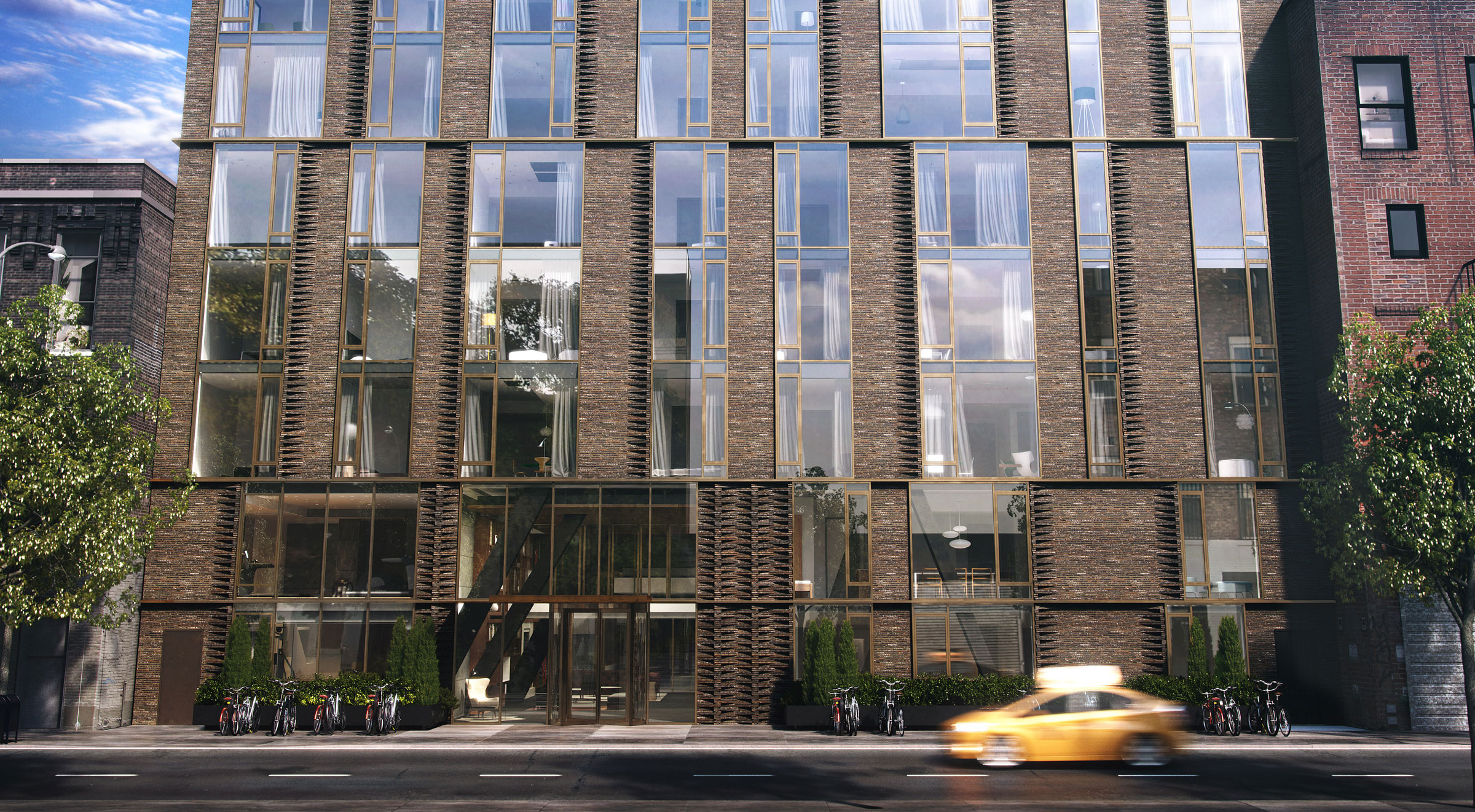 Architectural Rendering of the exterior of the Charlie West 505 West 43rd Street project located in Hell's Kitchen, New York City