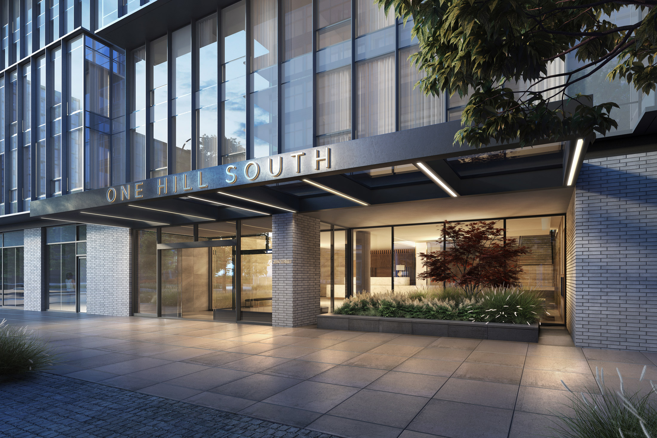 Architectural Rendering of the entrance of the One Hill South project located in Washington, DC