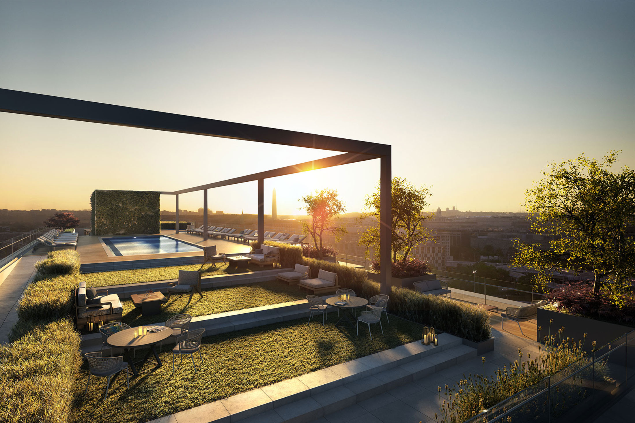 Architectural Rendering of the rooftop of the One Hill South project located in Washington, DC