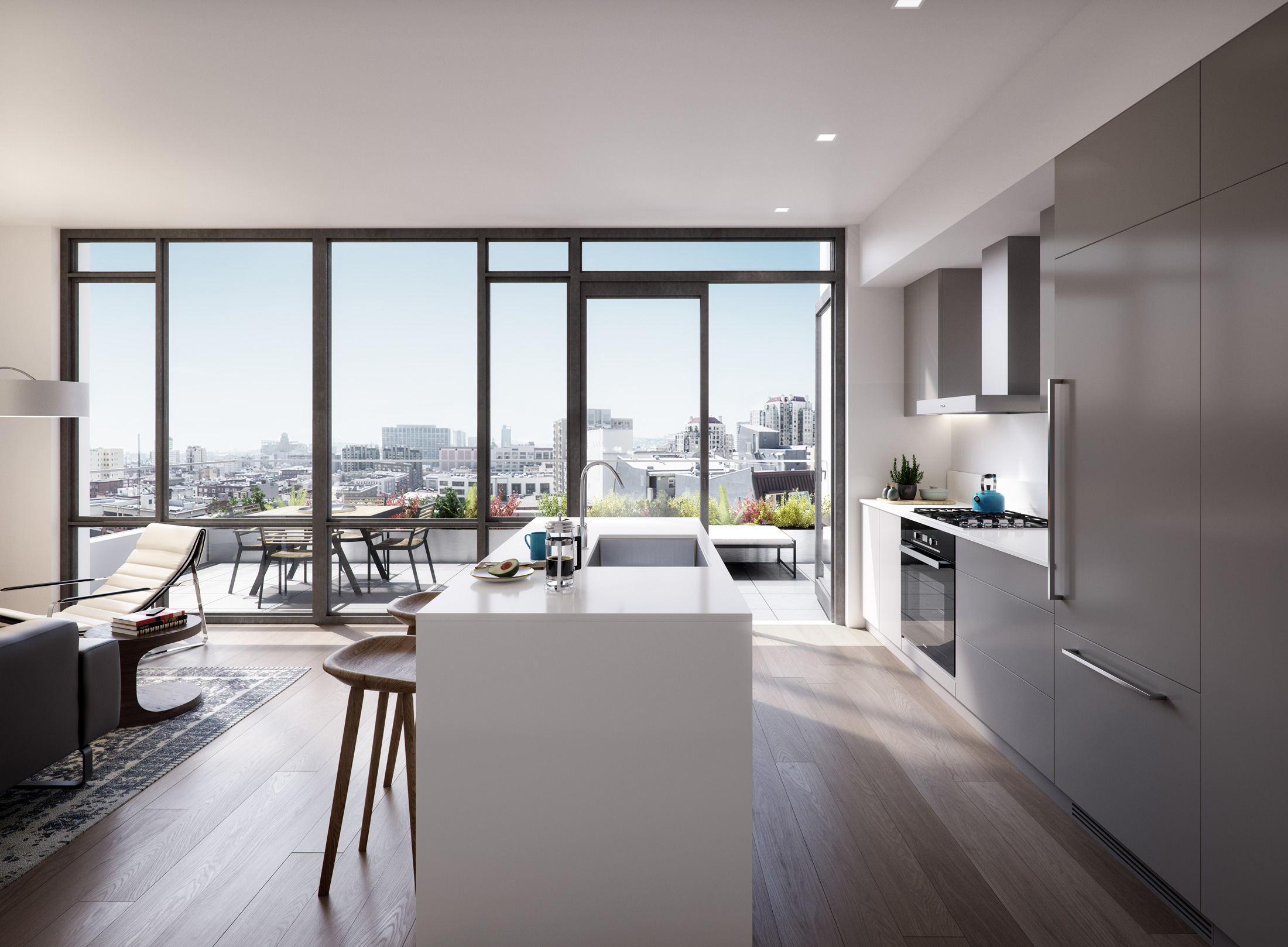 Architectural Rendering of the kitchen of the The Austin project located in San Francisco, California