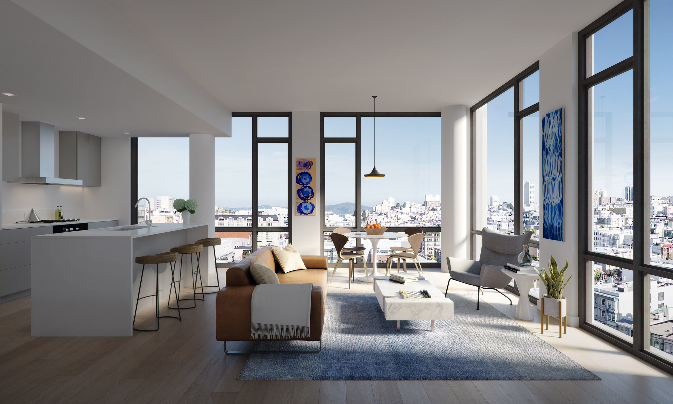 Architectural Rendering of the living room of the The Austin project located in San Francisco, California