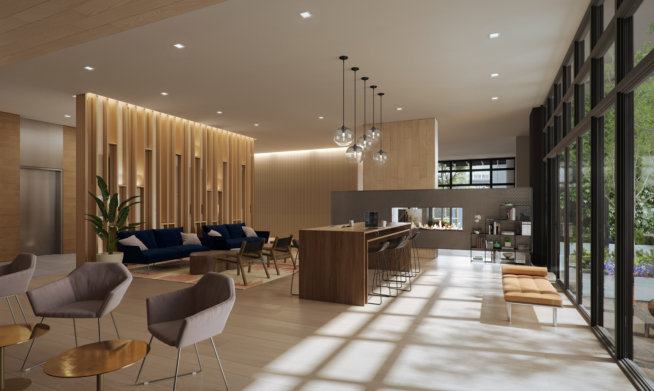Architectural Rendering of the lobby lounge of the The Austin project located in San Francisco, California