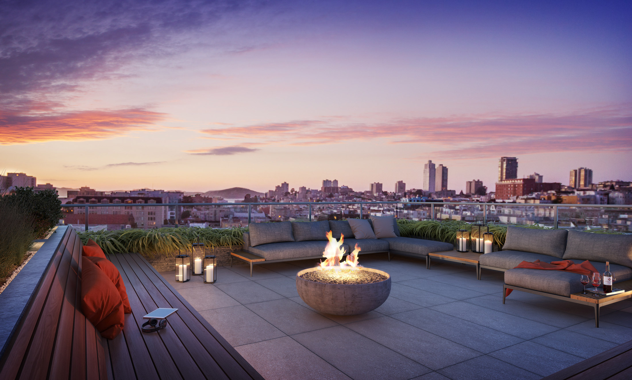 Architectural Rendering of the rooftop of the The Austin project located in San Francisco, California