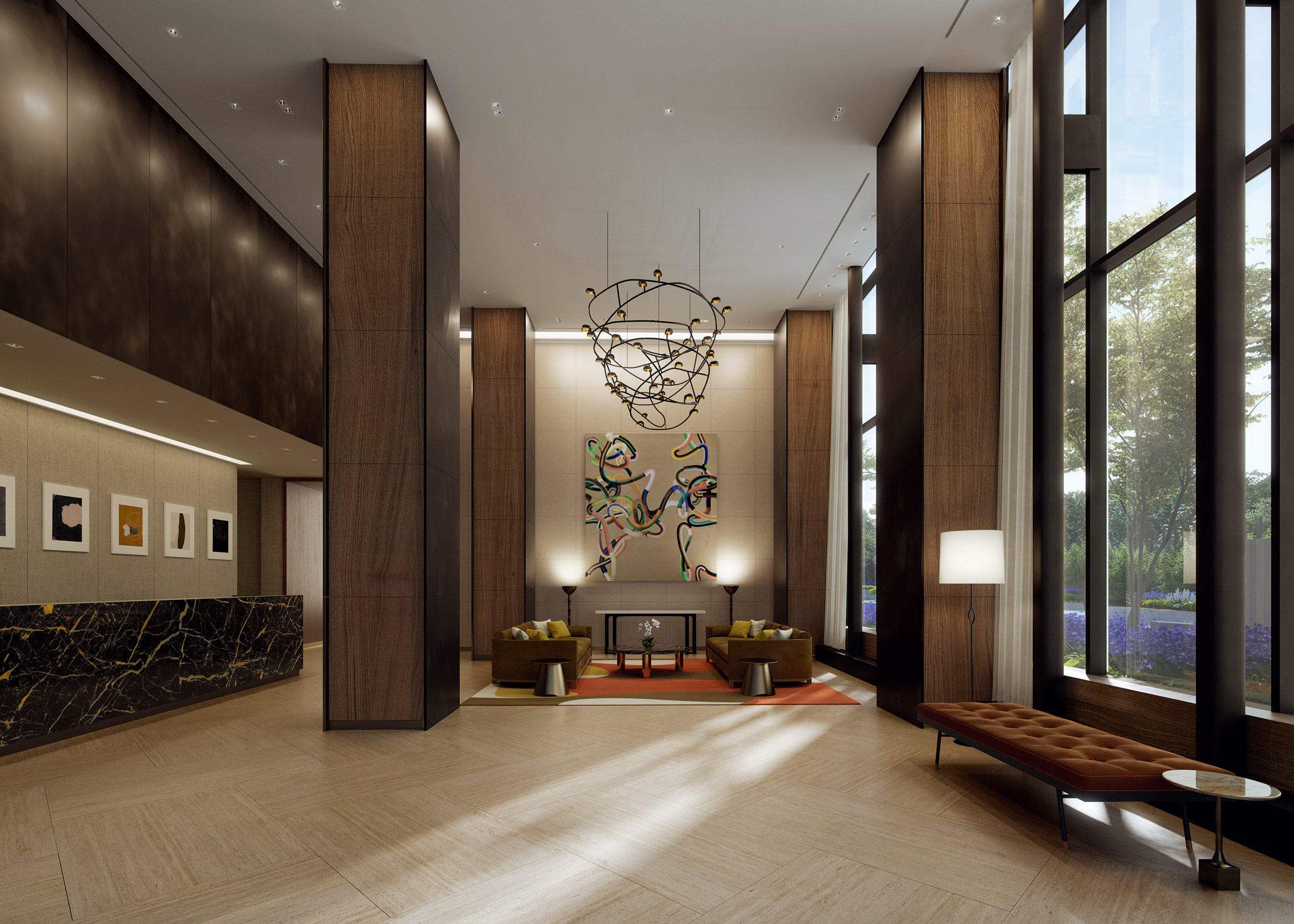Architectural Rendering of the lobby of The Easton project located on the Upper East Side, New York City