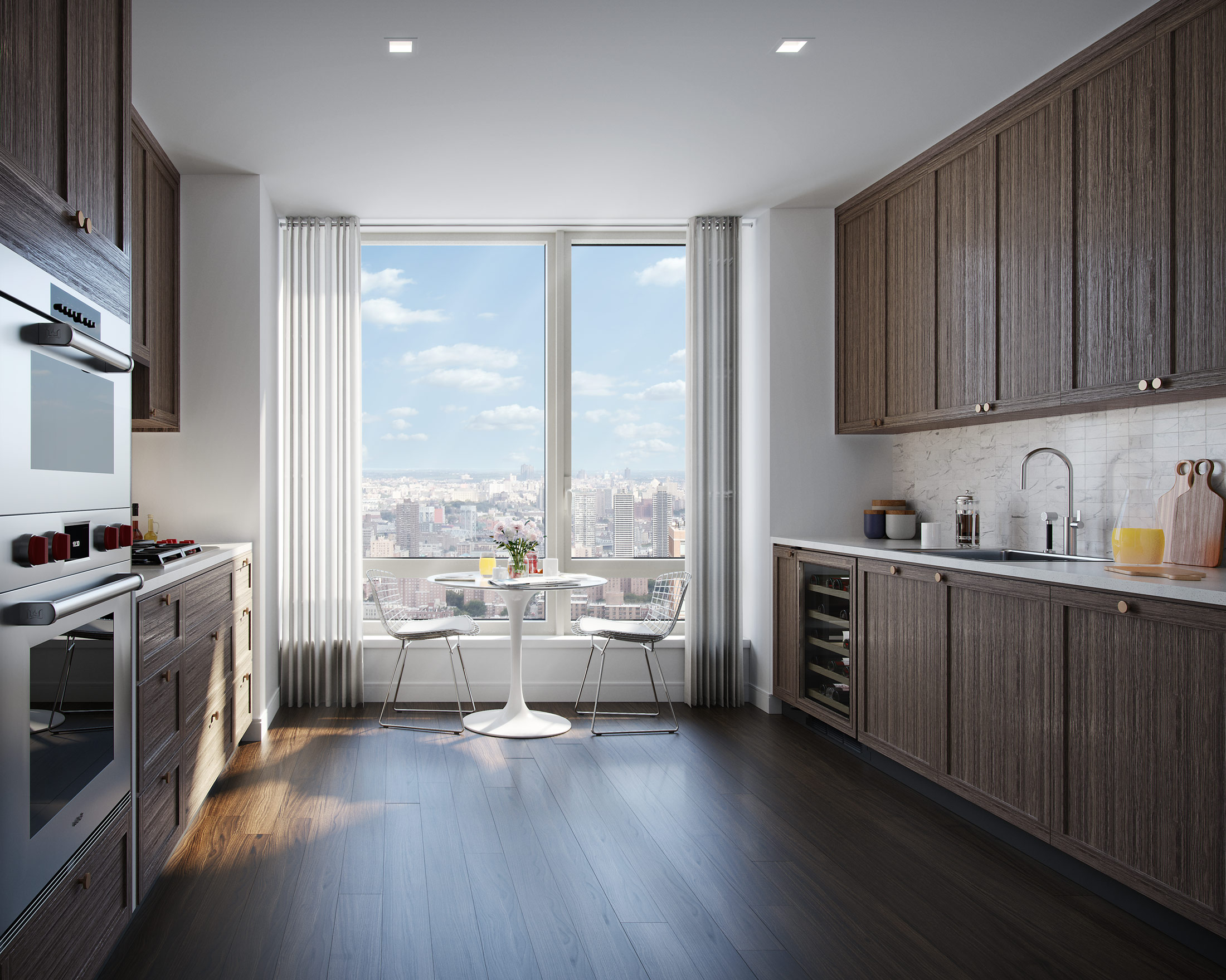 Architectural Rendering of the kitchen of The Easton project located on the Upper East Side, New York City