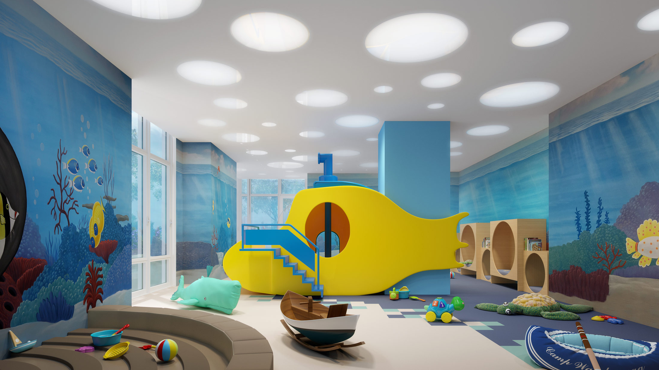 Architectural Rendering of the kids room of The Easton project located on the Upper East Side, New York City