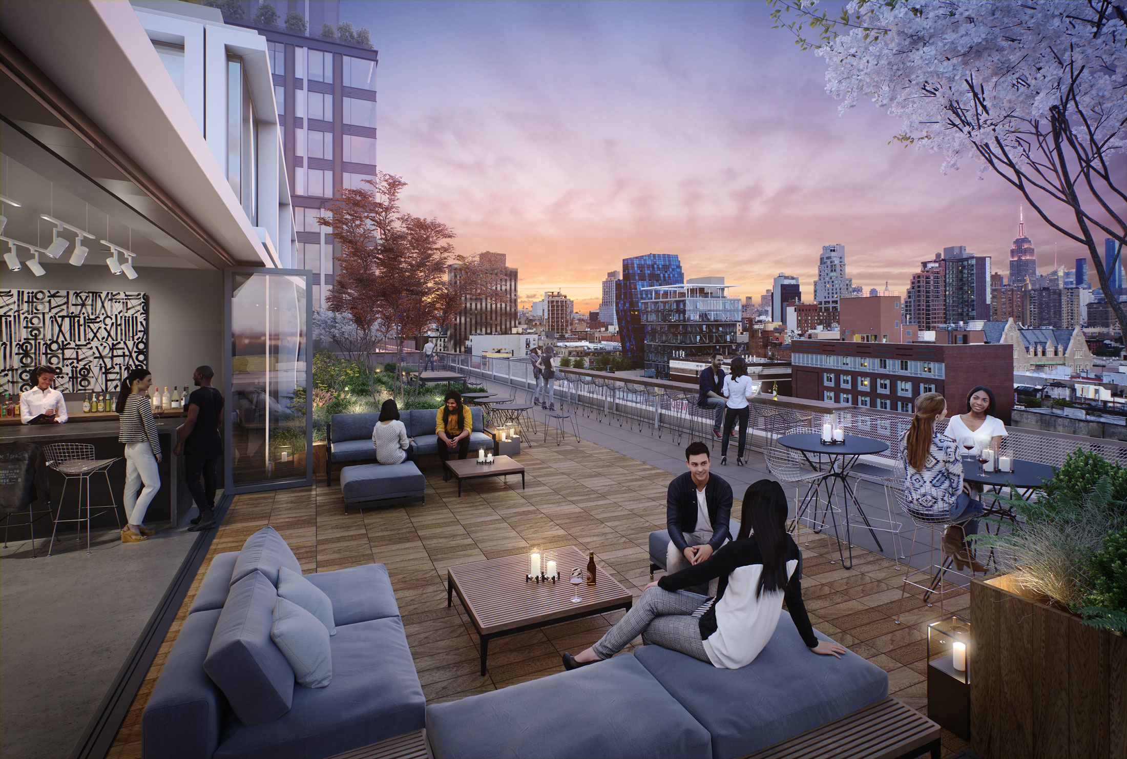 Architectural Rendering of the terrace of The Market Line located on Manhattan's Lower East Side, New York City