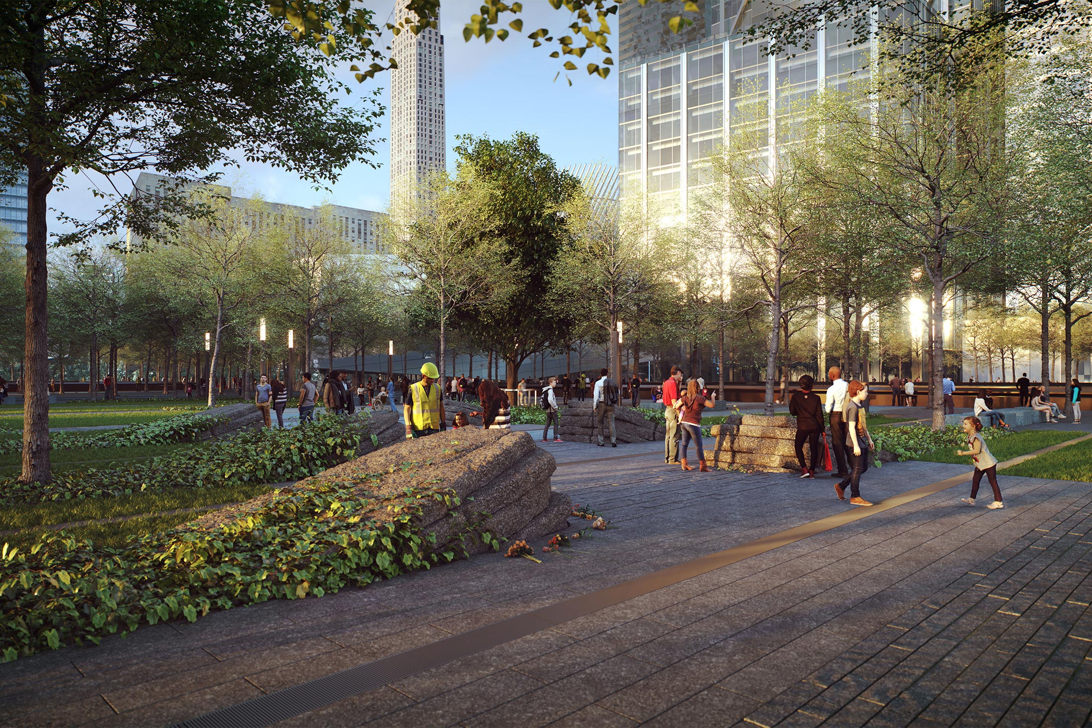 Architectural Rendering of the World Trade Center 9/11 Memorial Glade project located in the Financial District, New York City