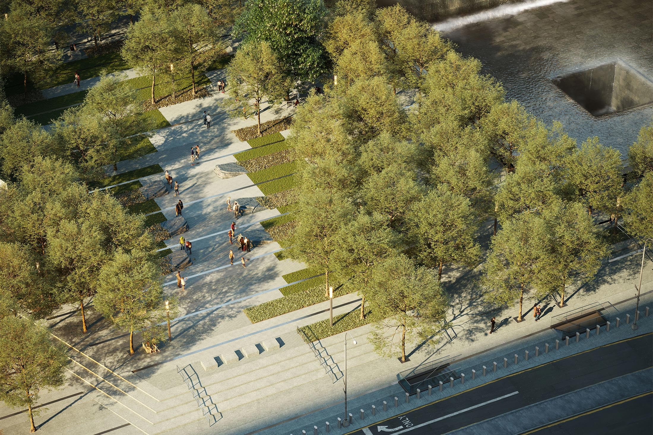 Architectural Rendering of an aerial view of the World Trade Center 9/11 Memorial Glade project located in the Financial District, New York City