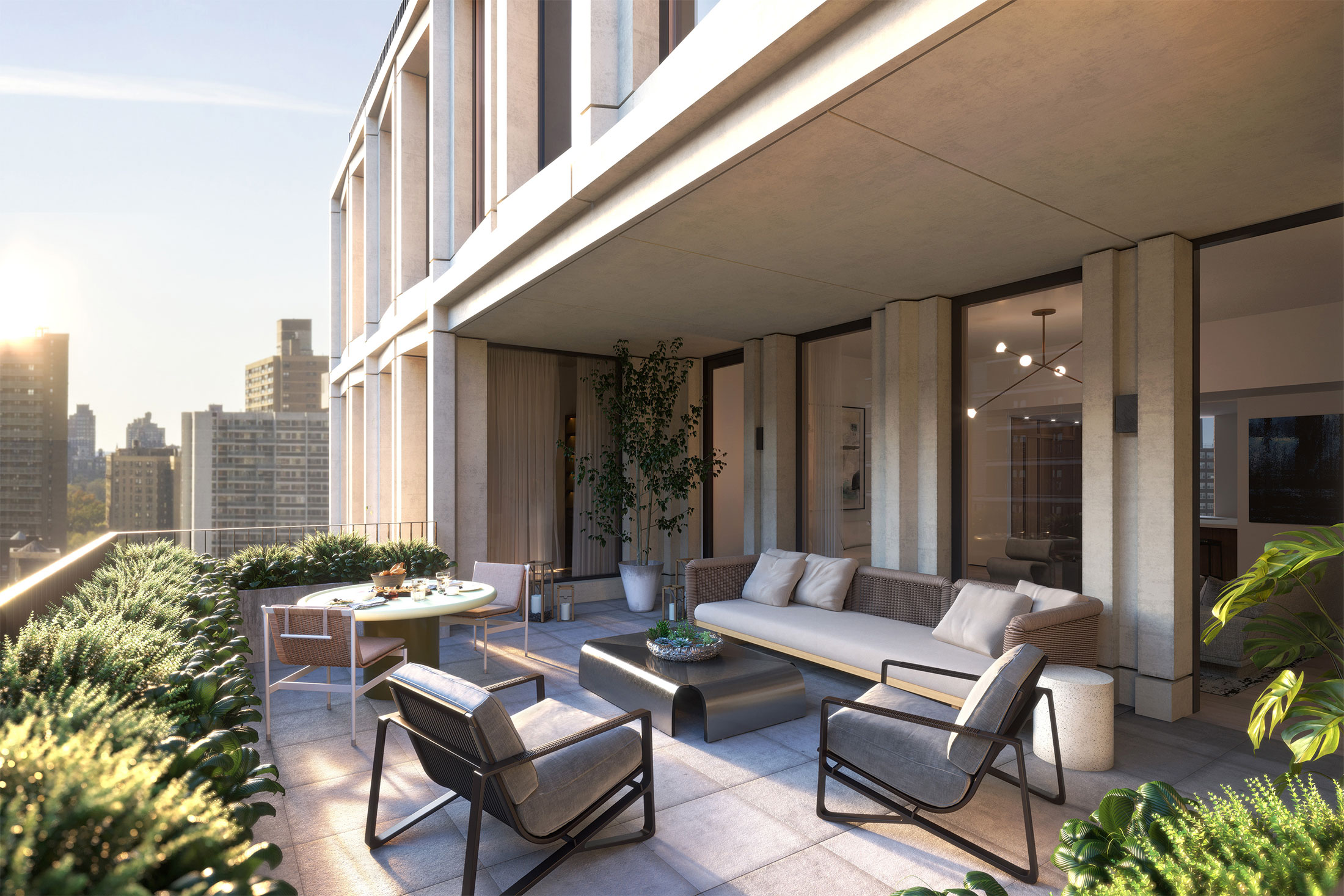 Architectural Rendering of the rooftop of the 212W93 project located on the Upper West Side, New York City