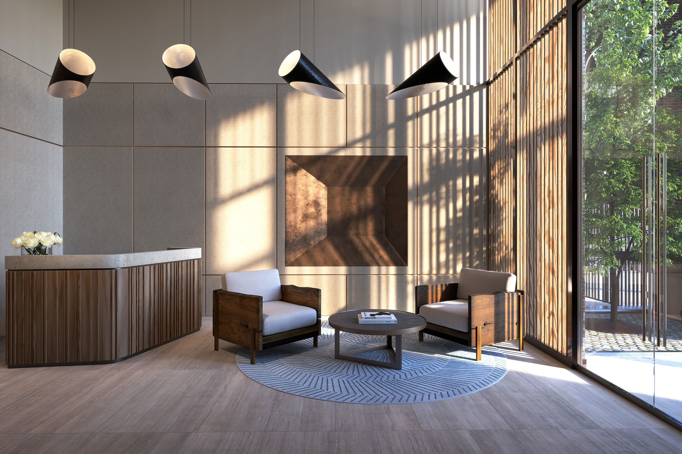Architectural Rendering of the lobby of the 212W93 project located on the Upper West Side, New York City