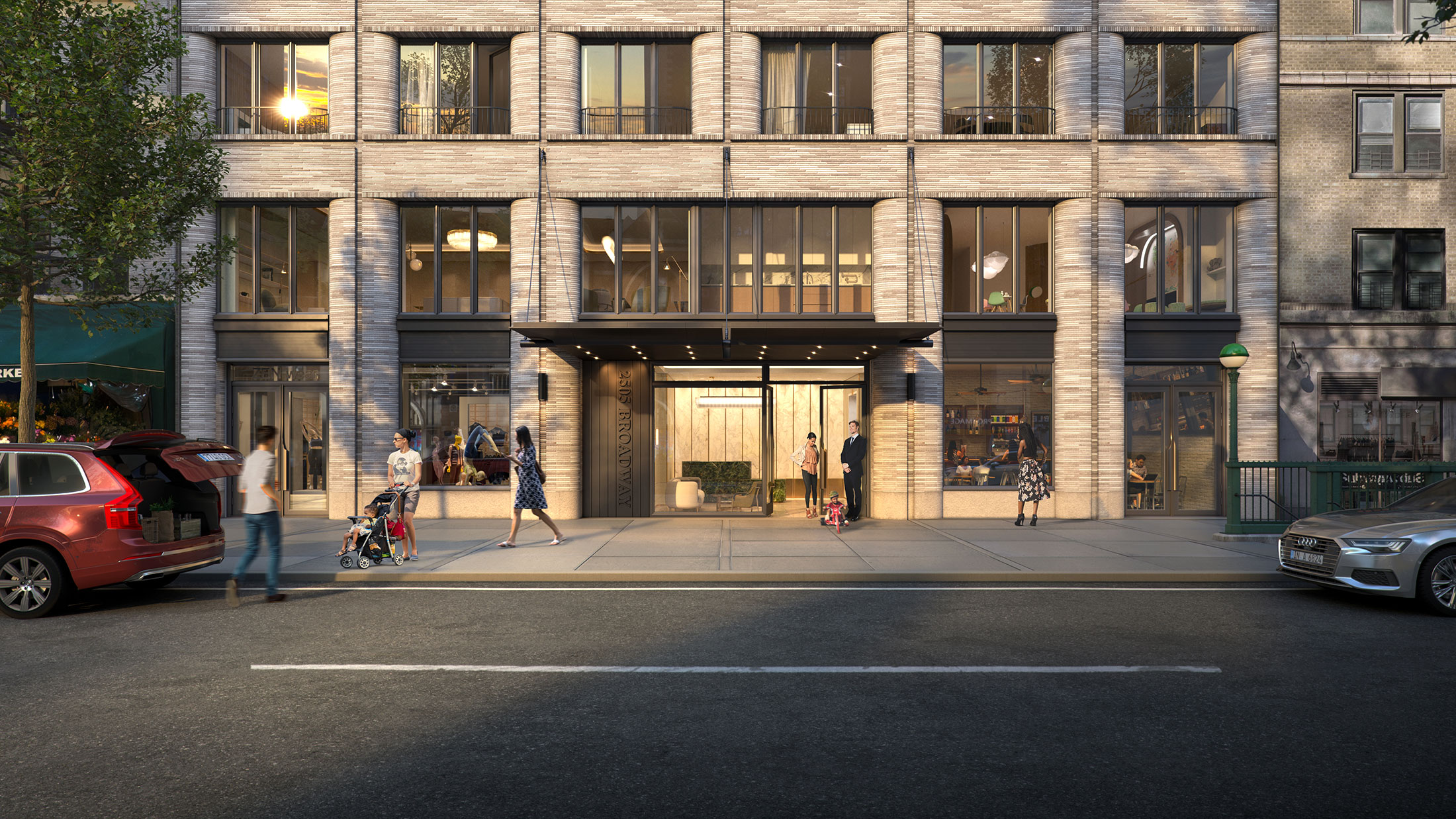 Architectural Rendering of the entrance of the 2505 Broadway building project located on the Upper West Side in New York City