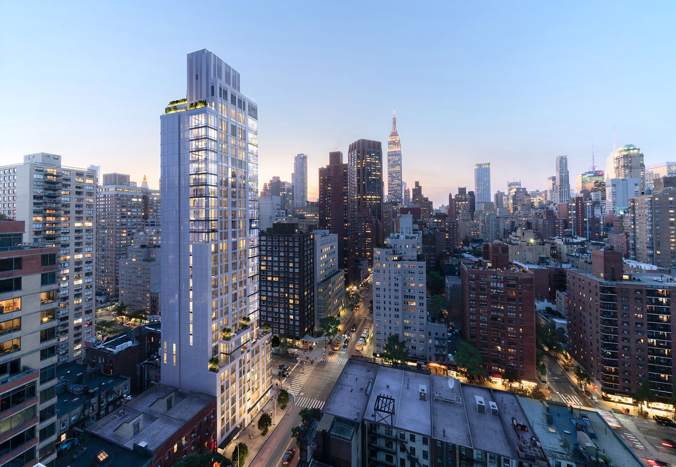 Architectural Rendering of the exterior of the Eastlight building project located on the Kips Bay neighborhood in New York City