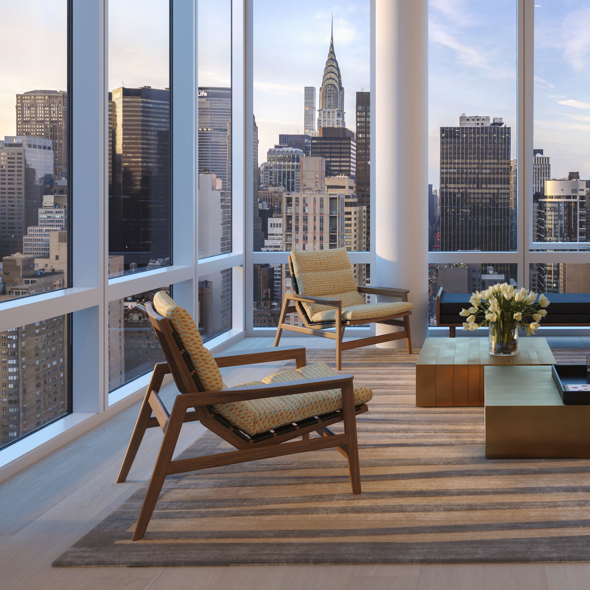 Architectural Rendering of the living room of the Eastlight building project located on the Kips Bay neighborhood in New York City