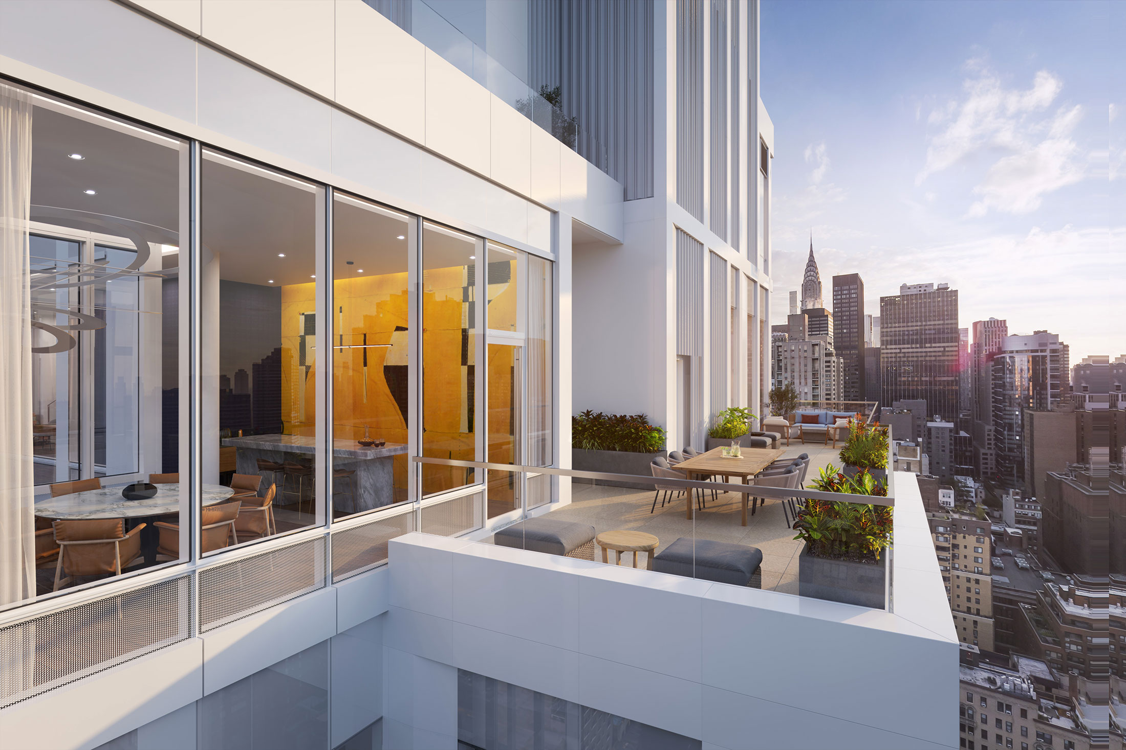 Architectural Rendering of the common terrace of the Eastlight building project located on the Kips Bay neighborhood in New York City