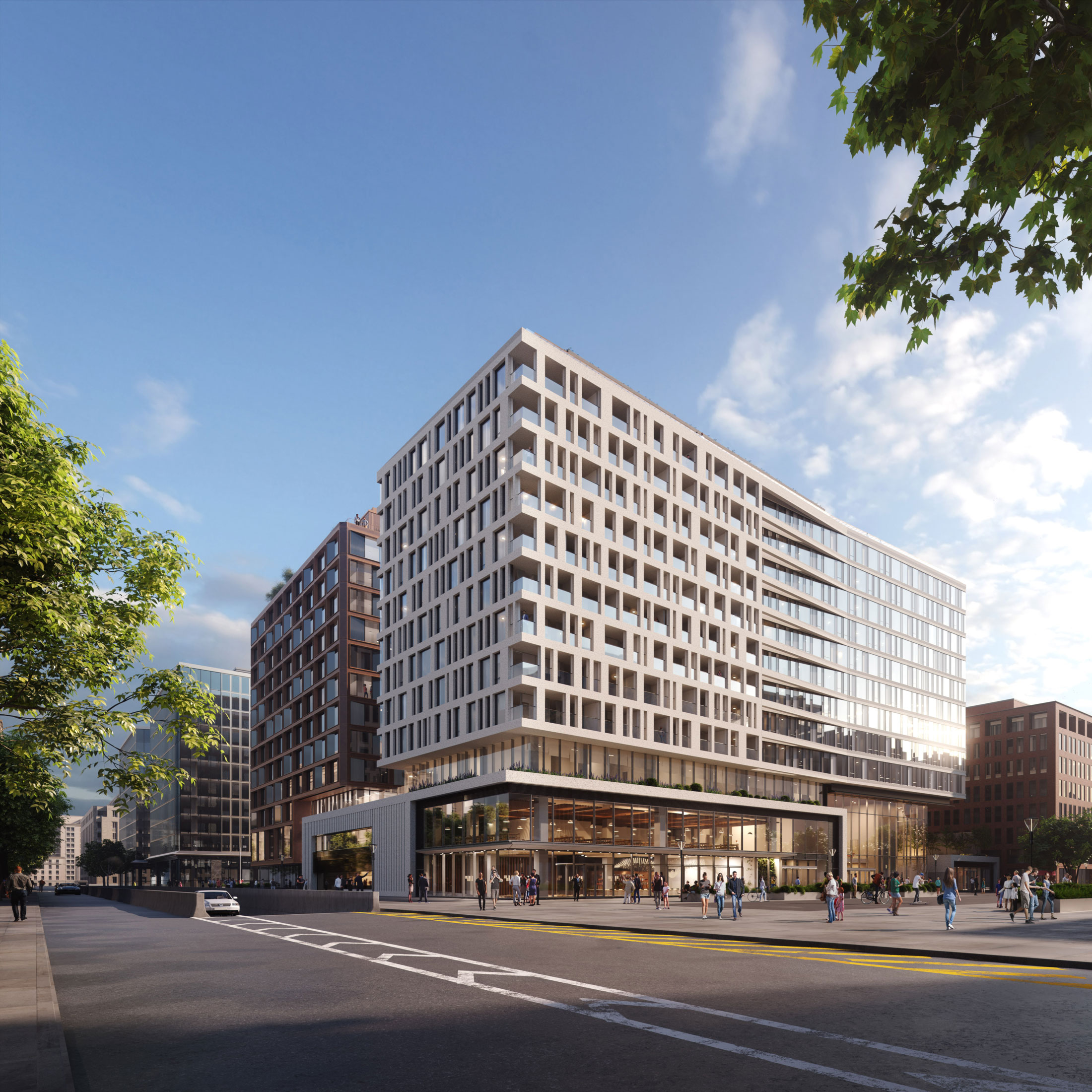 Architectural Rendering of the exterior of the Center Block at Capitol Crossing project located in Washington, DC