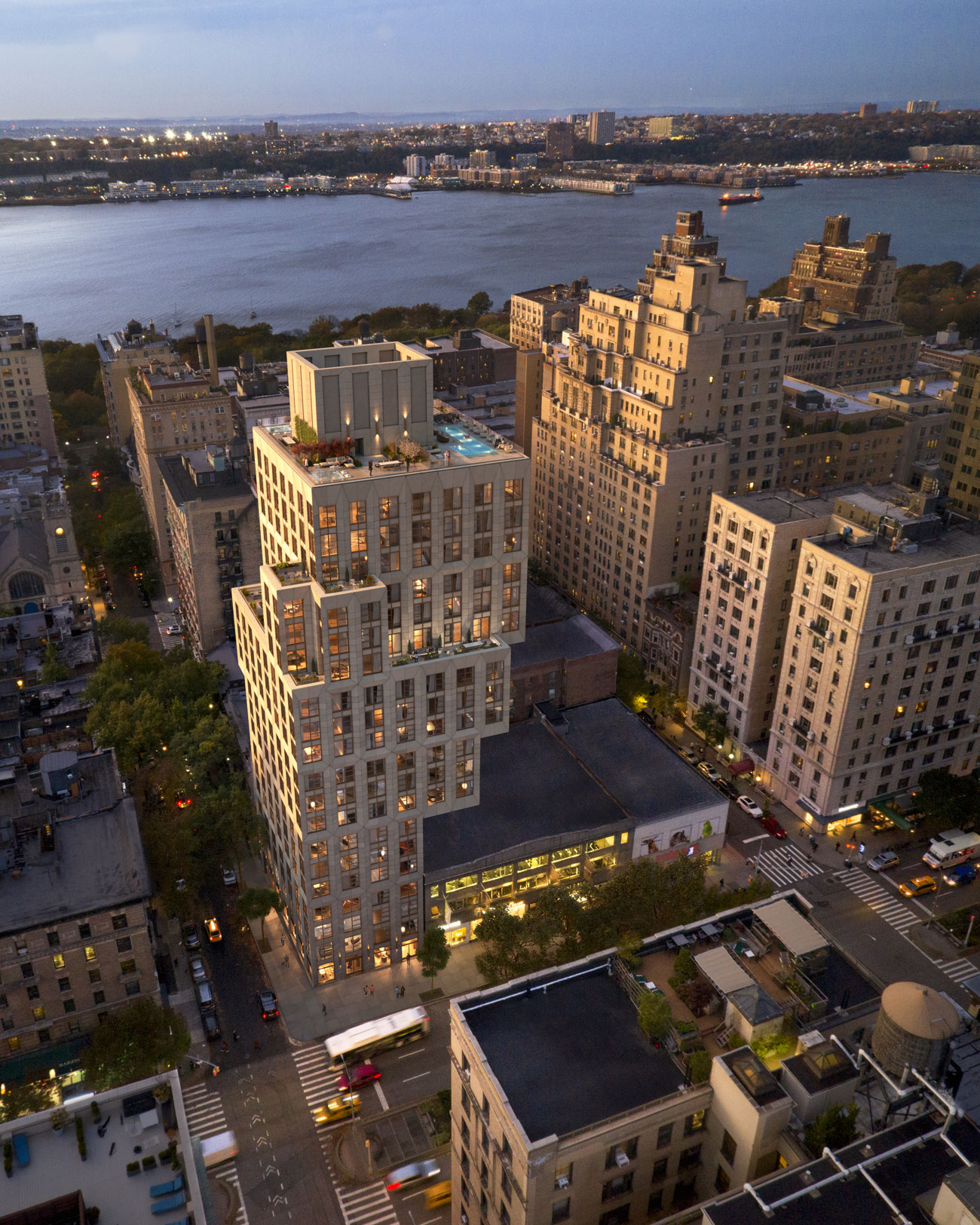 Architectural Rendering of an aerial view of the ERA building project located on the Upper West Side in New York City