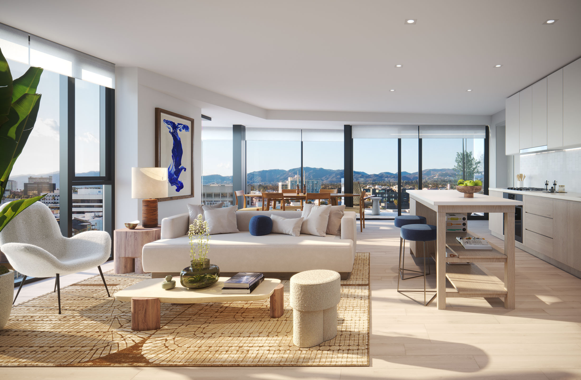 Architectural Rendering of the interior of a unit in The Park building project located in Santa Monica, California