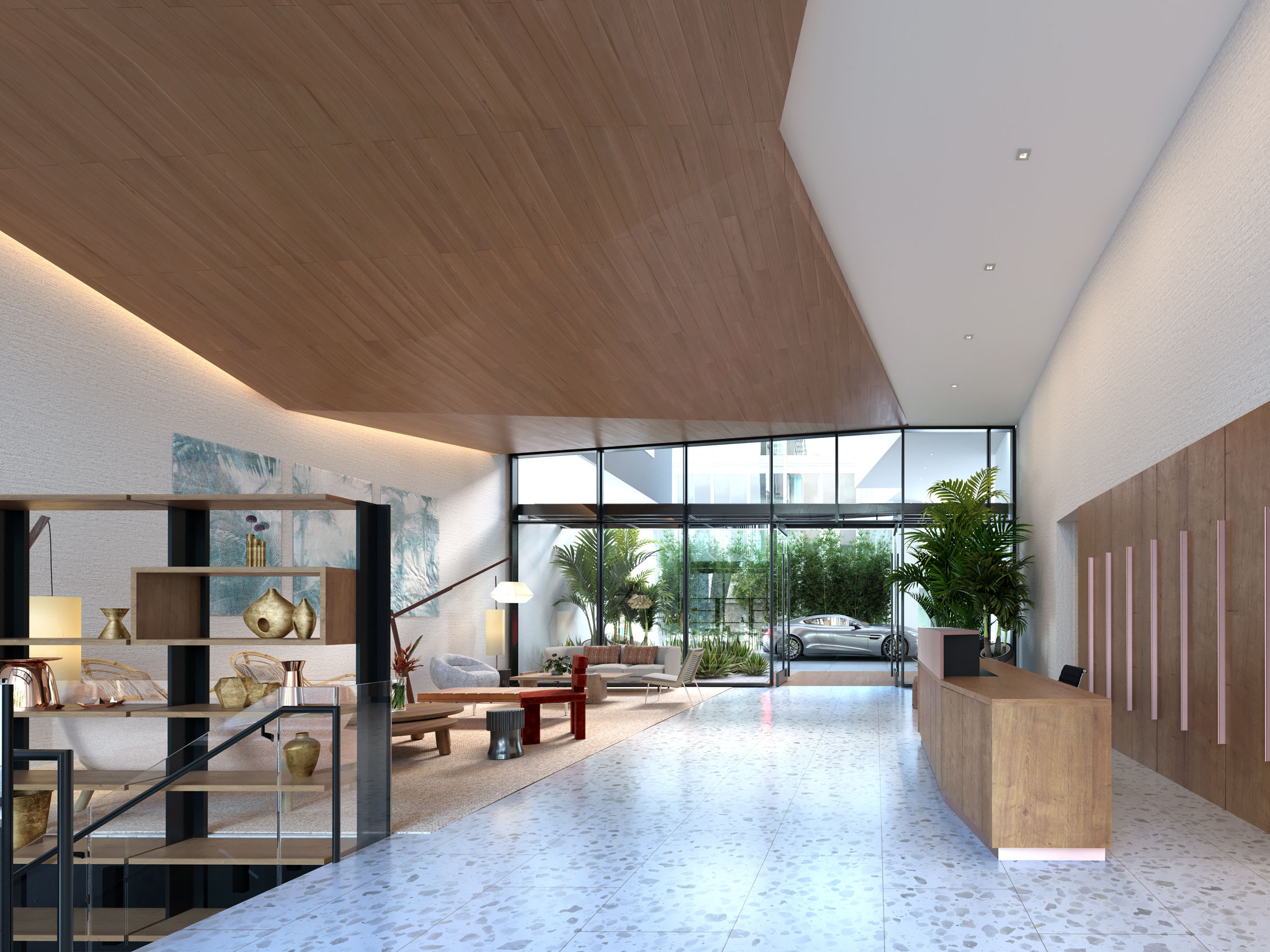 Architectural Rendering of the lobby of The Park building project located in Santa Monica, California